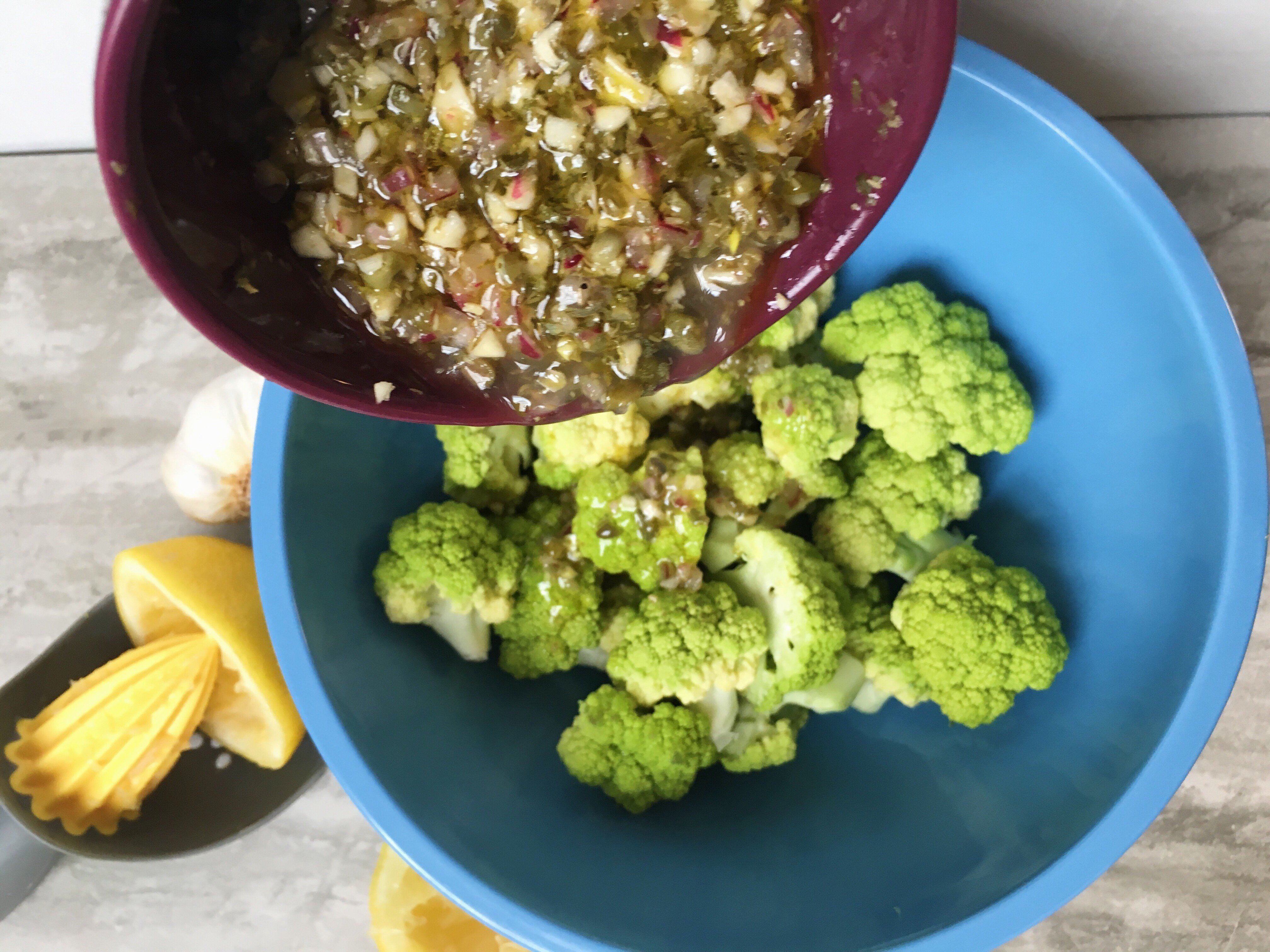 MArinated cauliflower with capers and onions and olive oil