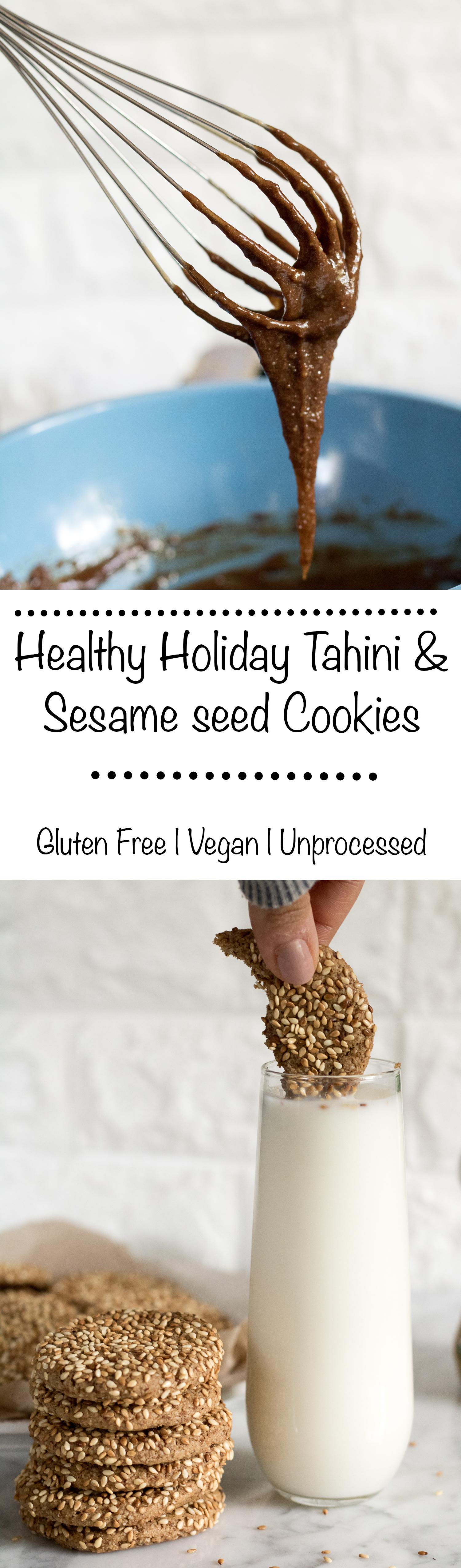 healthy tahini holiday cookies