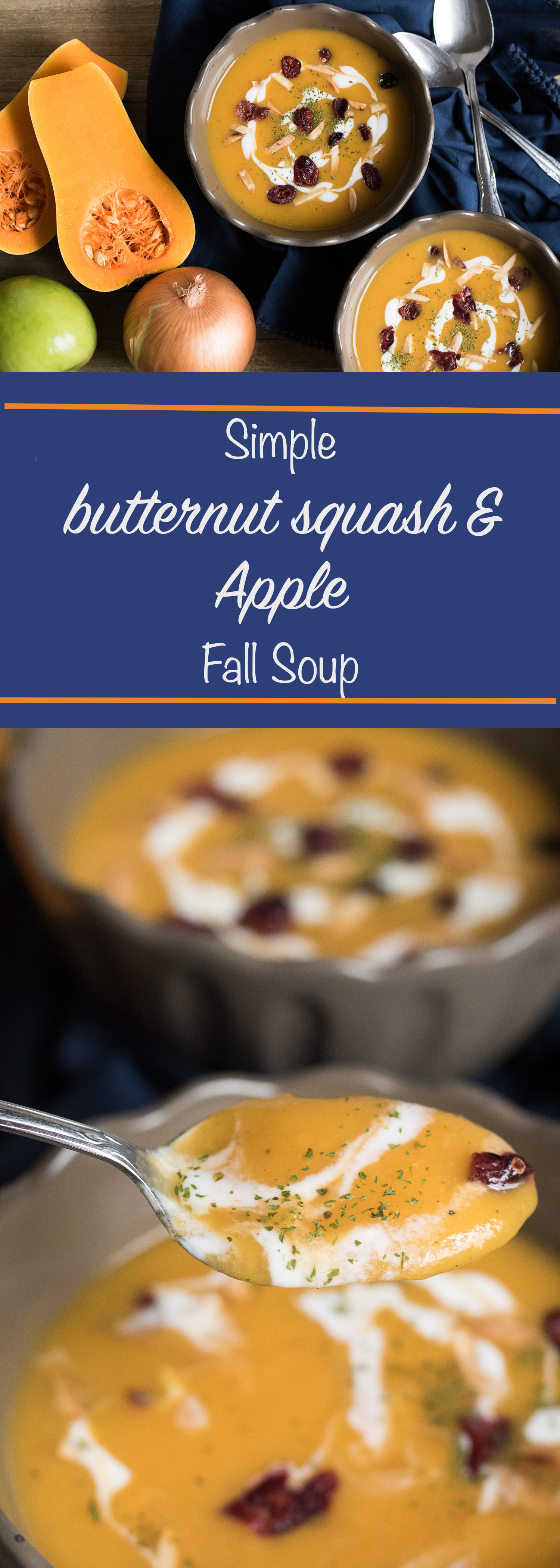 Simple butternut squash and apple fall soup
