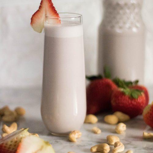 Kid friendly strawberry nut milk