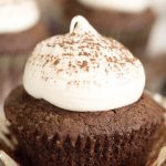Chocolate cupcake with a dollop of cream cheese frosting and a light dusting of hershey's cocoa!