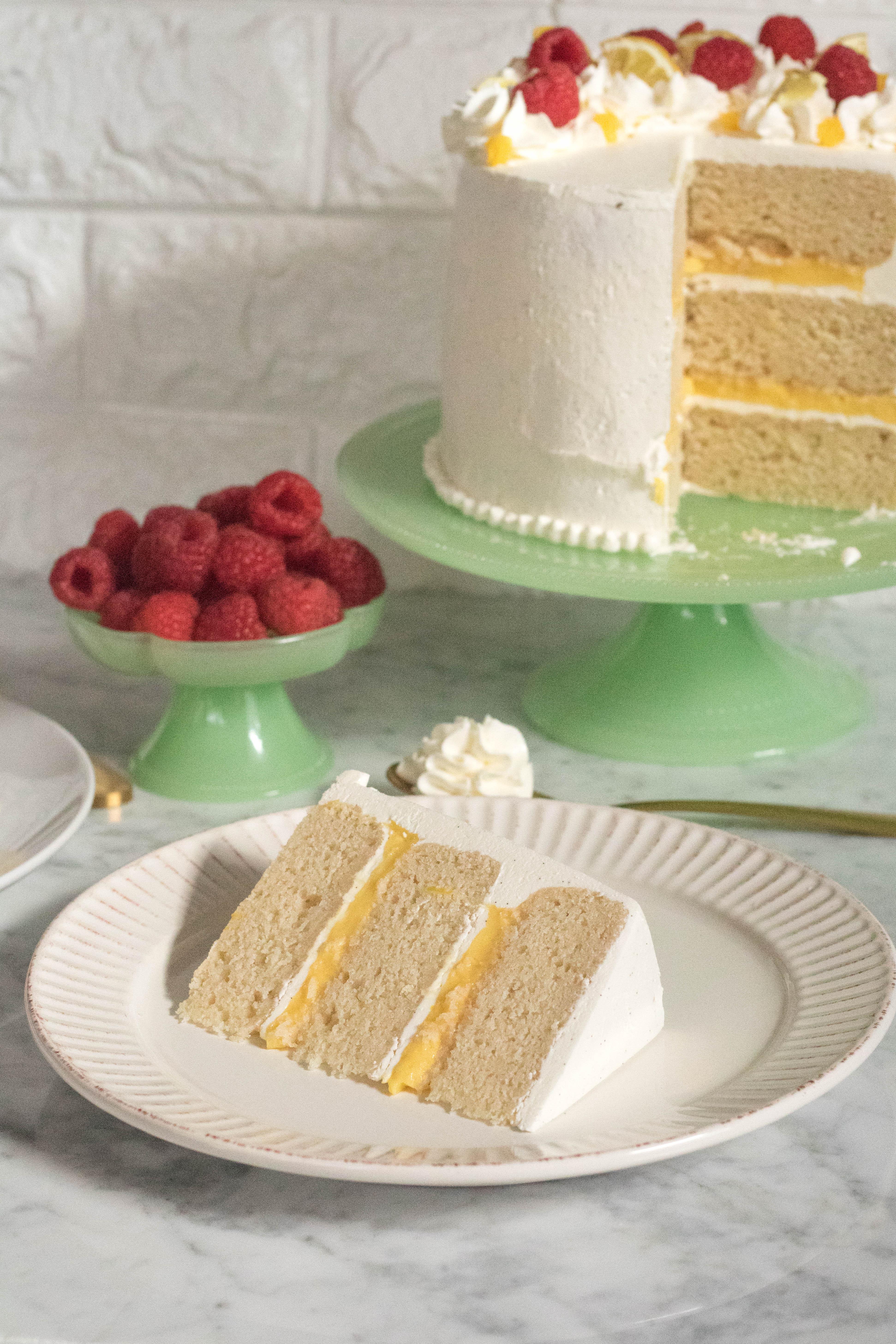 Layered Vanilla cake with lemon curd and Italian vanilla bean buttercream