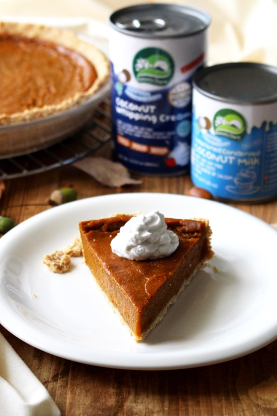 Vegan pumpkin pie with a dollop of coconut cream