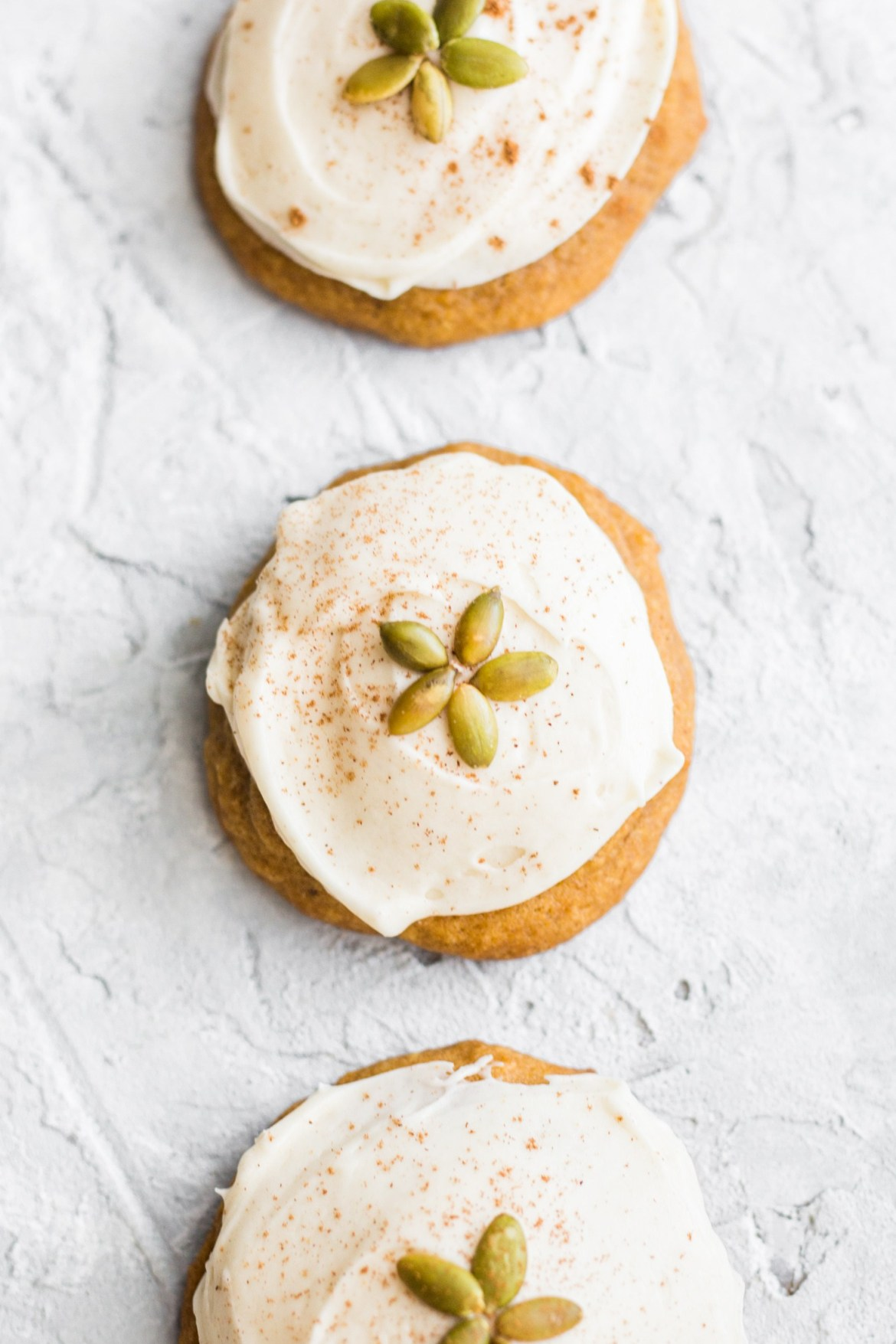 Soft pumpkin cookies with brown butter cream cheese frosting