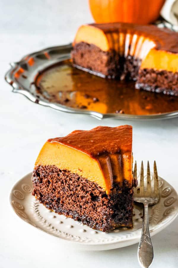 Brazilian Pumpkin Chocolate Flan for the 24 days of pumpkin recipe collection