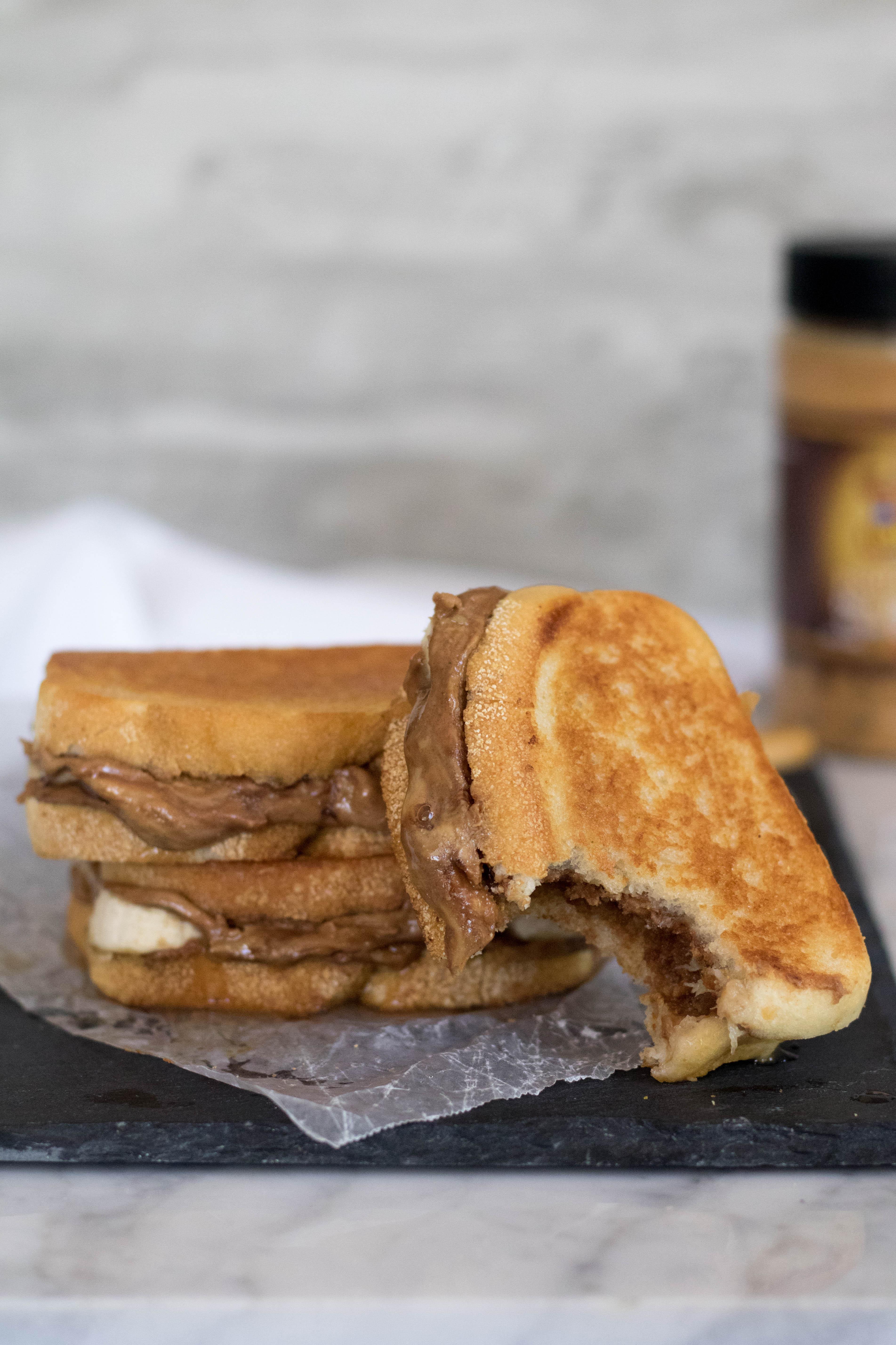 The best Grilled Peanut butter anad banana sandwich bitten