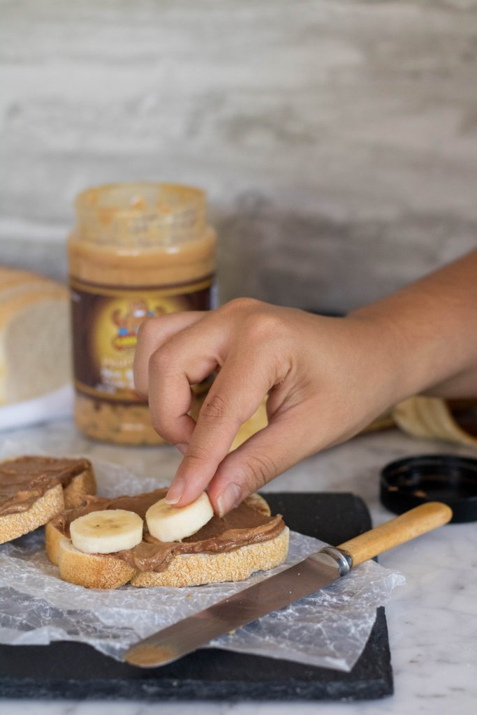 Ingredients of the grilled peanut butter and banana sandwich with fokken nuts cookie dough peanut butter