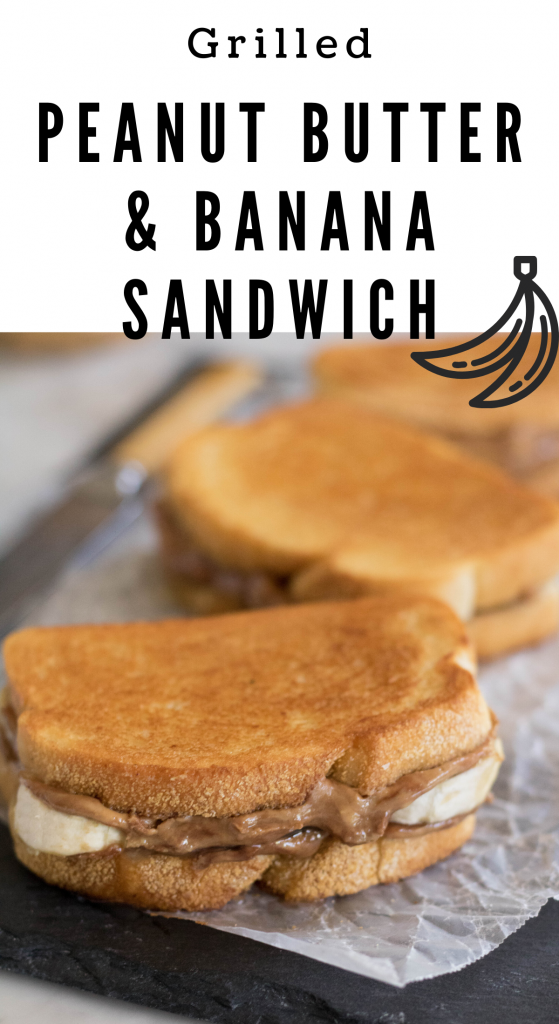 Collage for pinterest for the grilled PB banana Sandwich