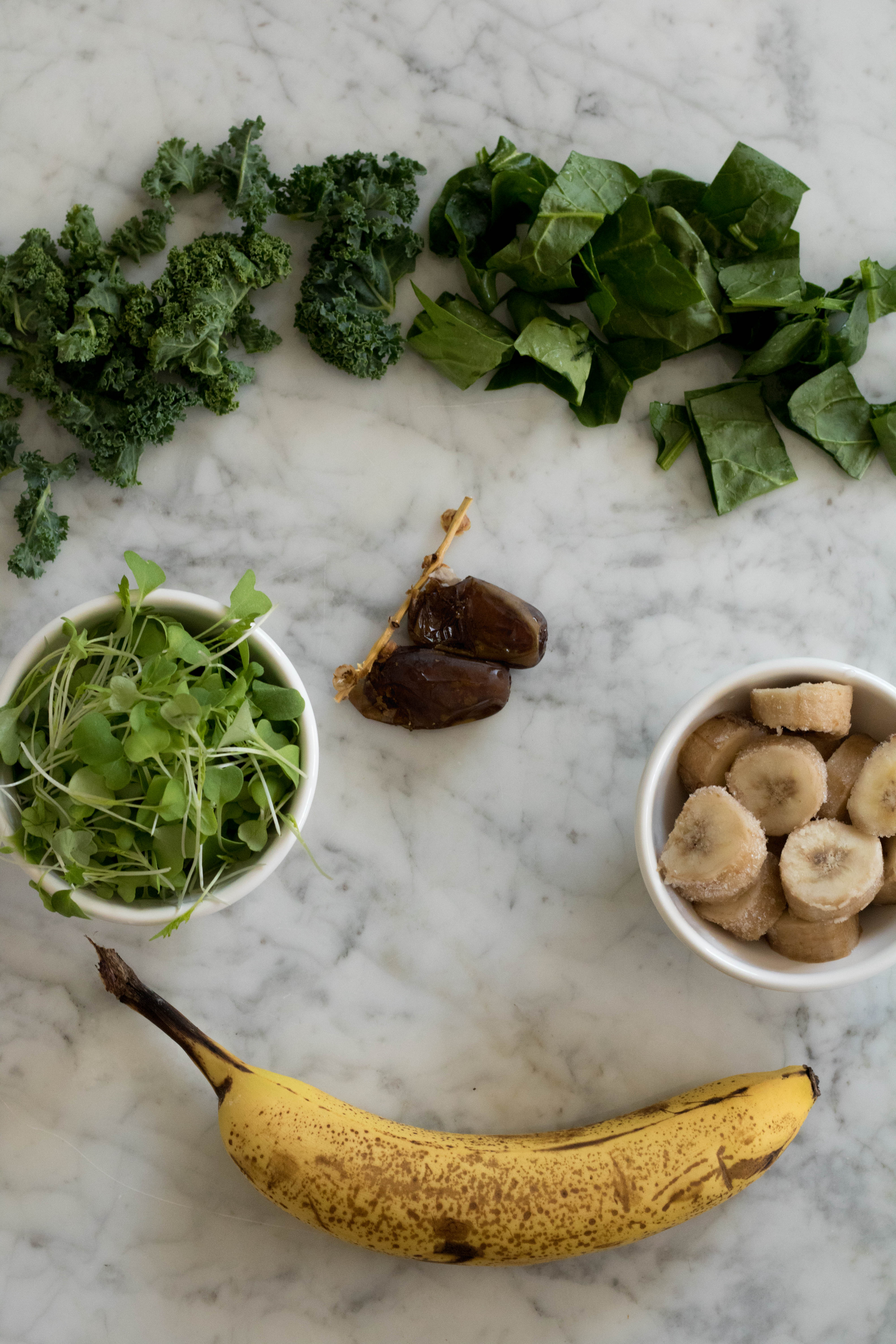 Ingredients for the Kale and Spinach Smoothie recipe