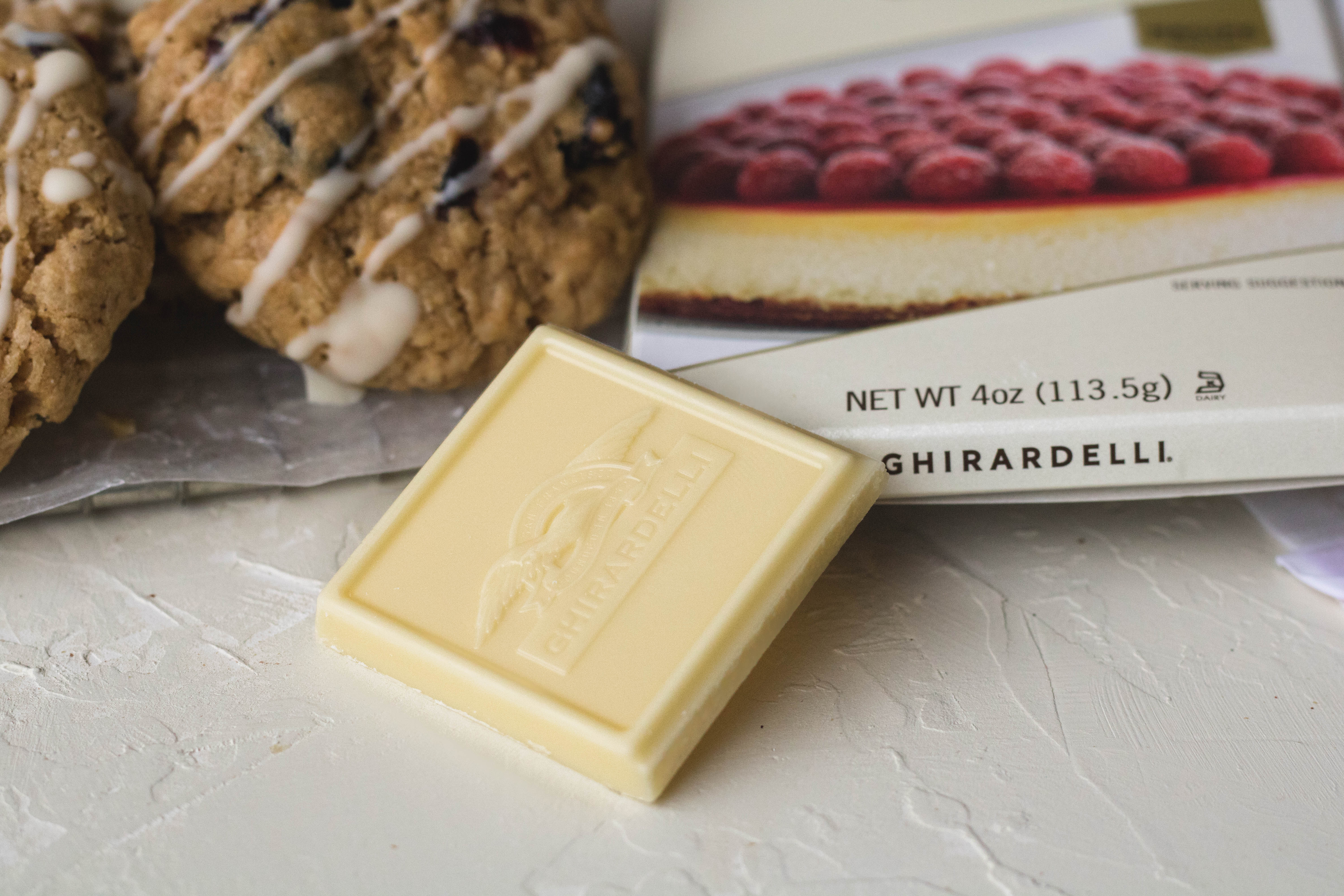 ghirardelli white chocolate for oatmeal cookie drizzle