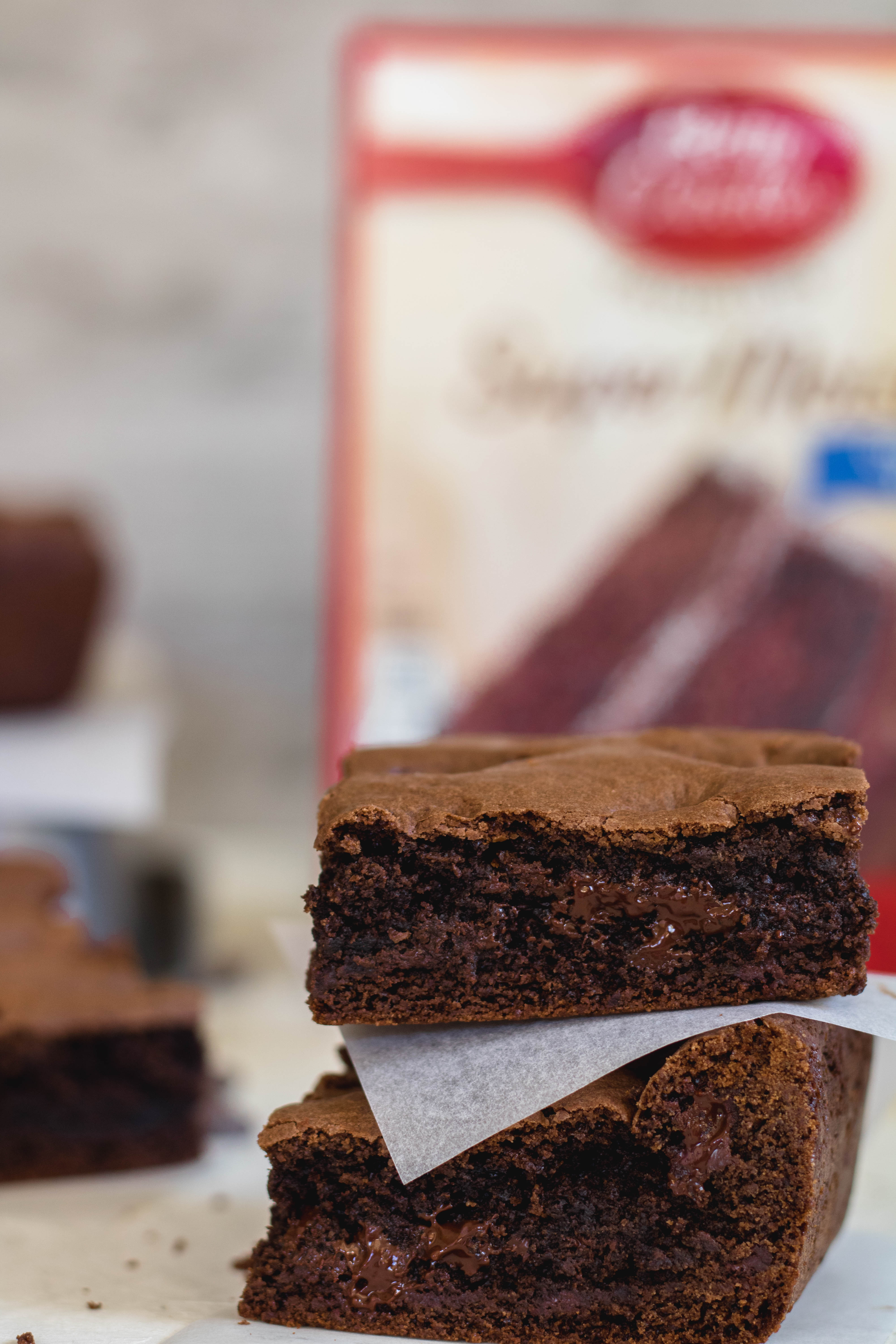 These brownies are made with cake mix and are here to stay!