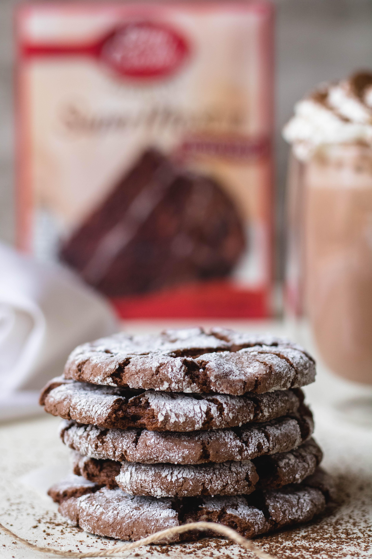 Thin and fudgy cake box chocolate crinkle cookies