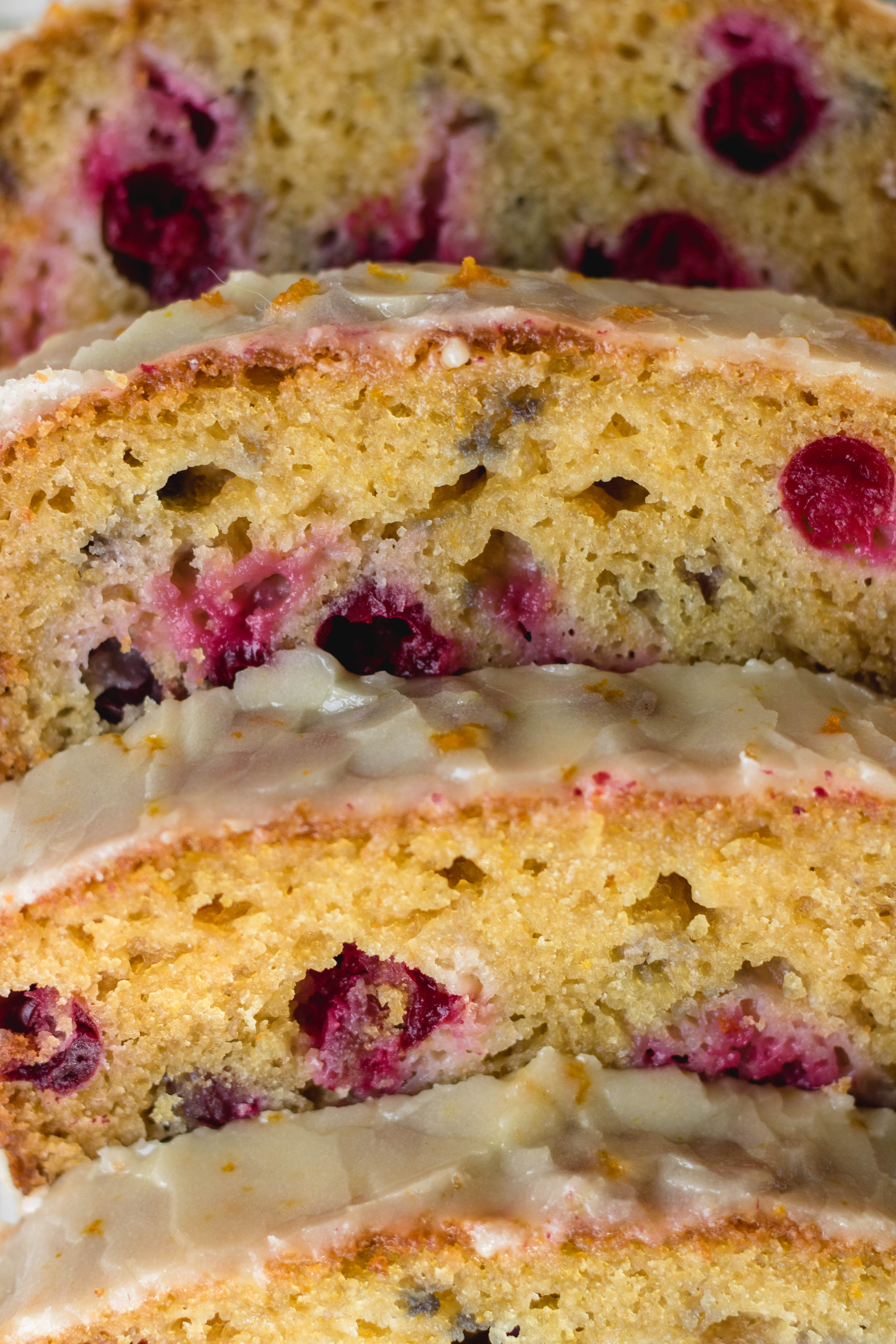 Close up of the cranberry orange bread for the holidays!