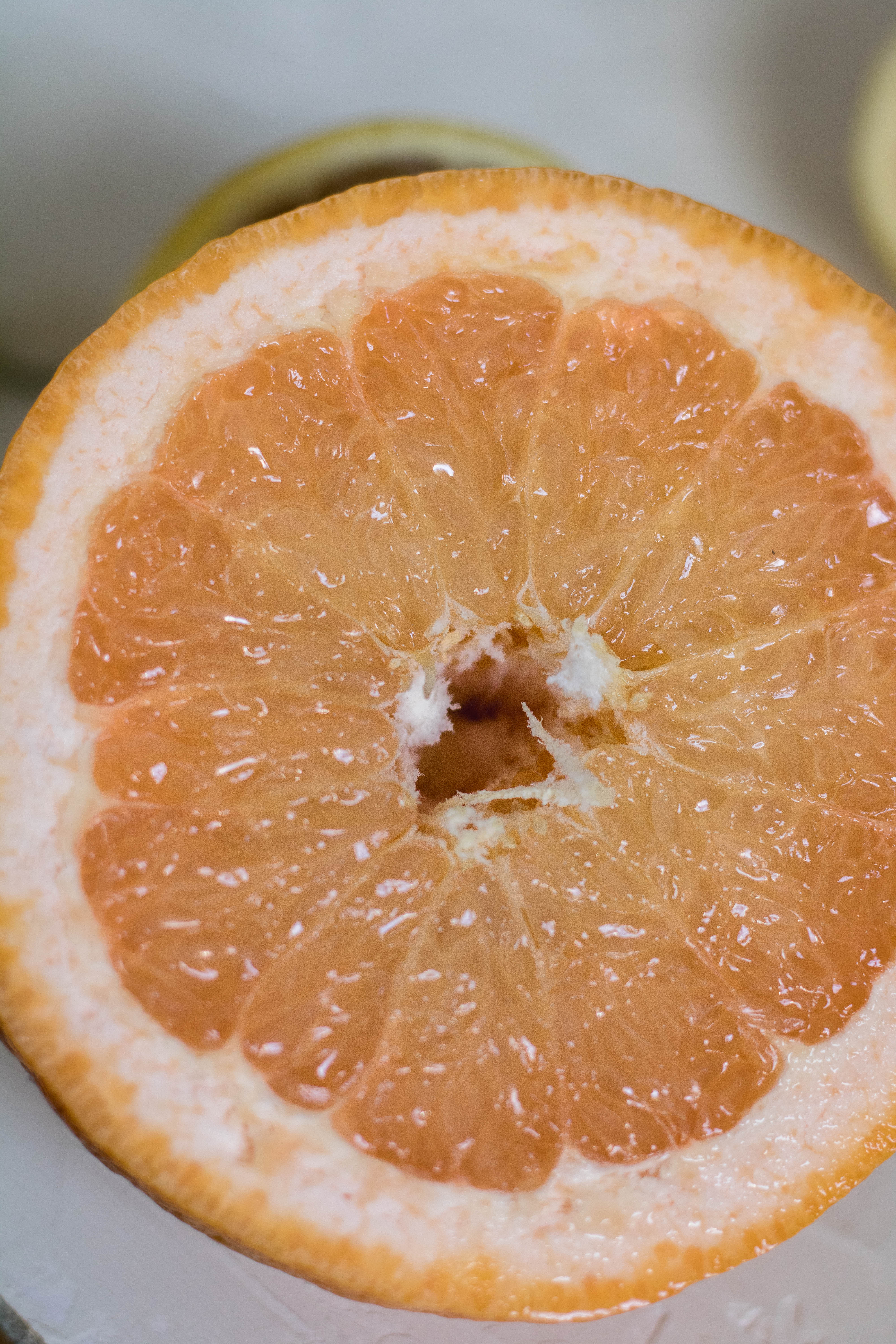 Sliced open grapefruit