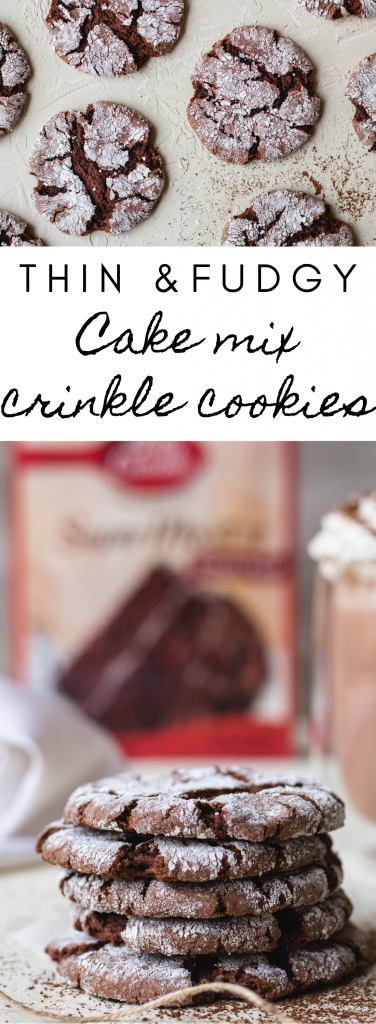 collage of cake mix crinkle cookies
