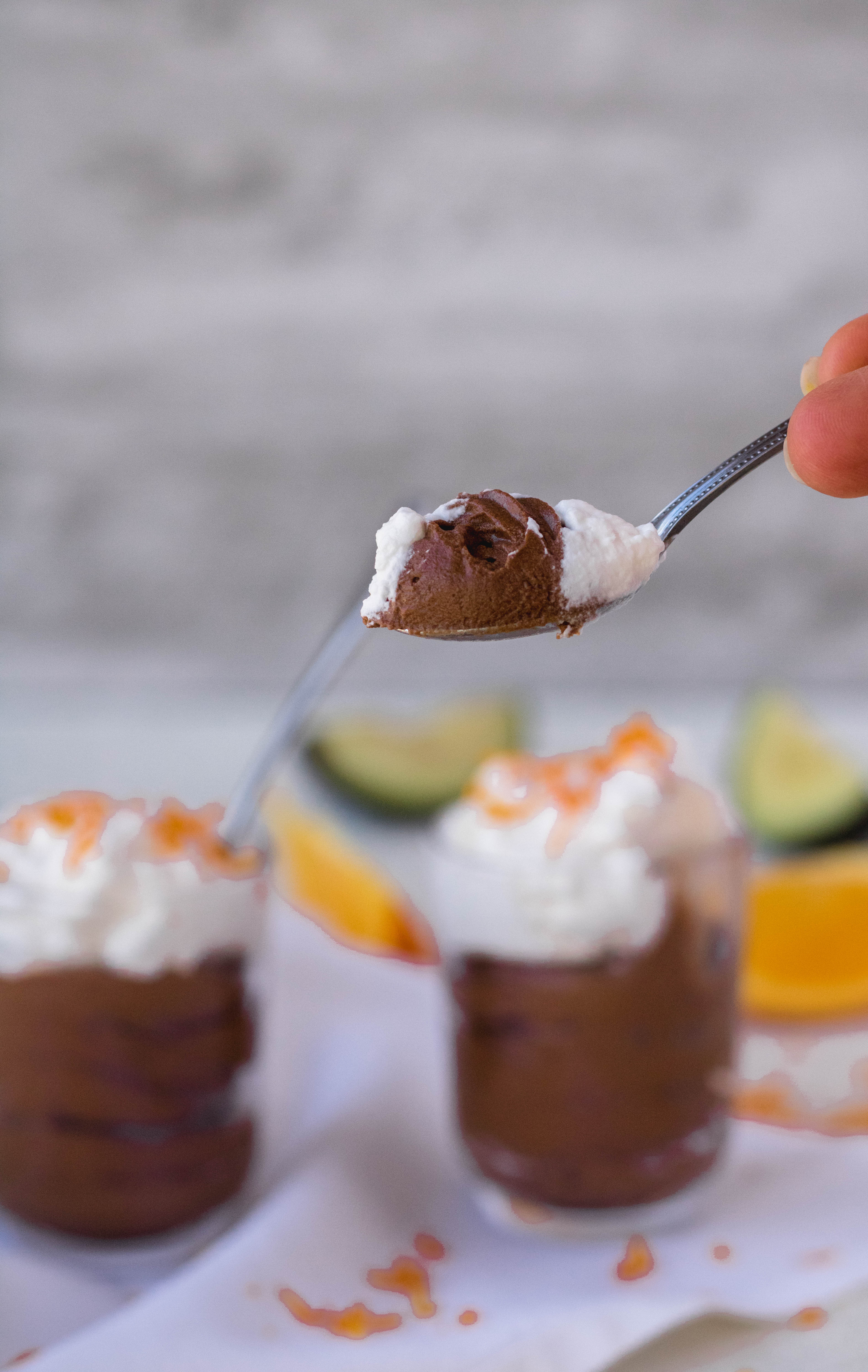 Chocolate orange mousse for two