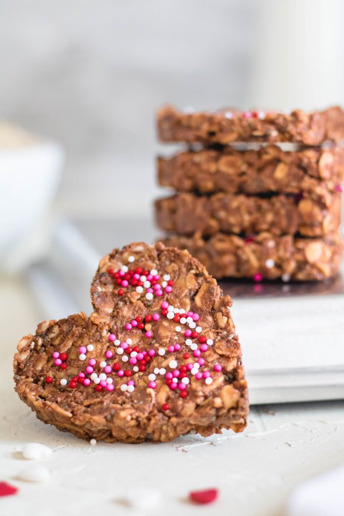 Healthy No Bake Cookies hearts with pink sprinkles