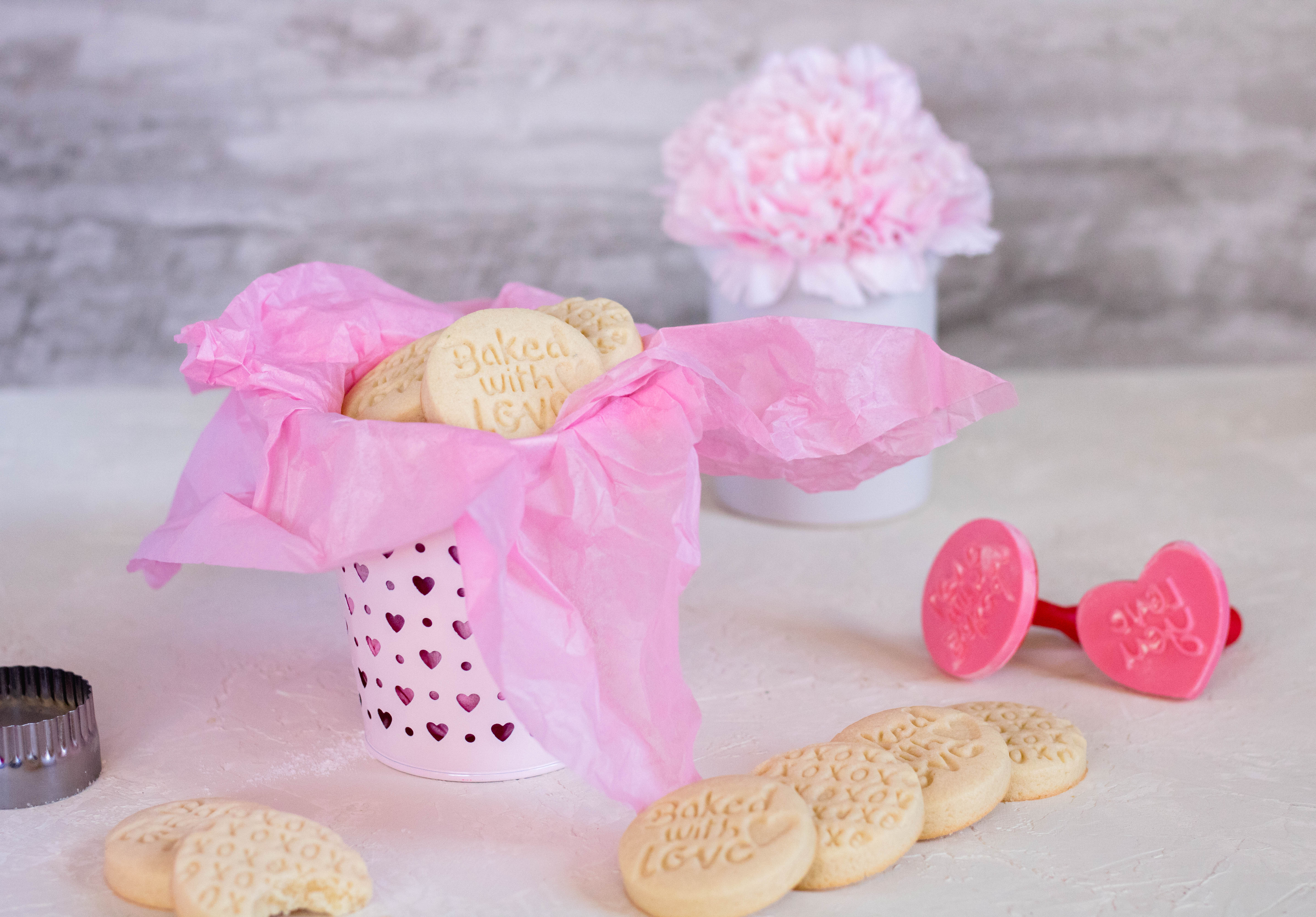 valentine's stamped shortbread cookies