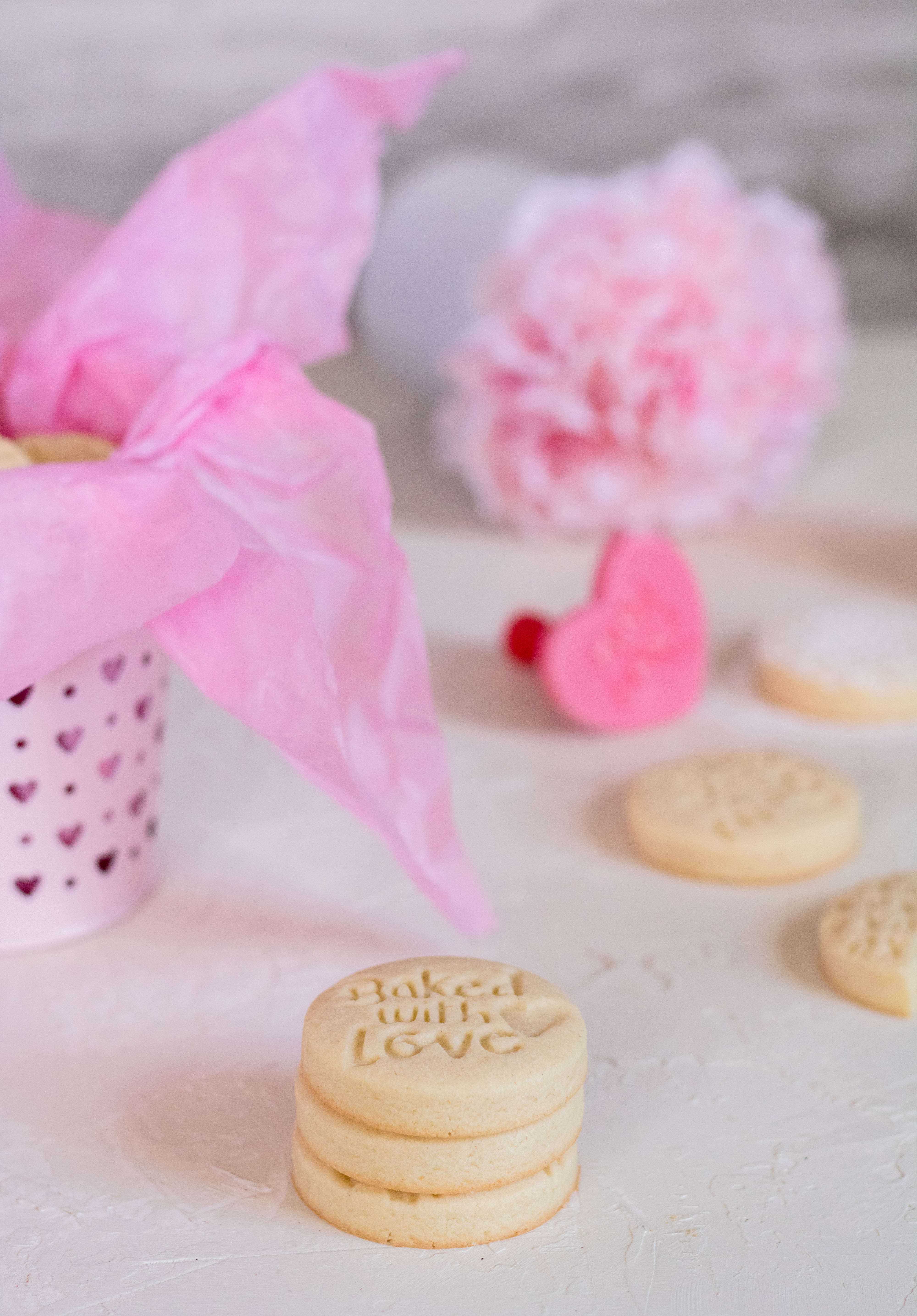 Valentine's day stamp shortbread cookies