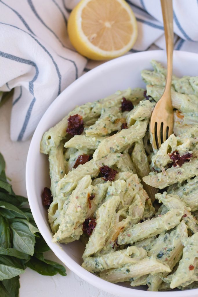 Easy avocado pasta dinner recipe