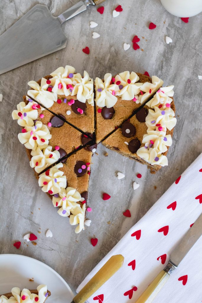 Heart Valentine's Day Cookie Cake dessert for two
