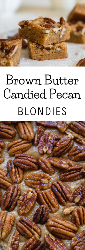 Brown butter candied pecan blondie recipe