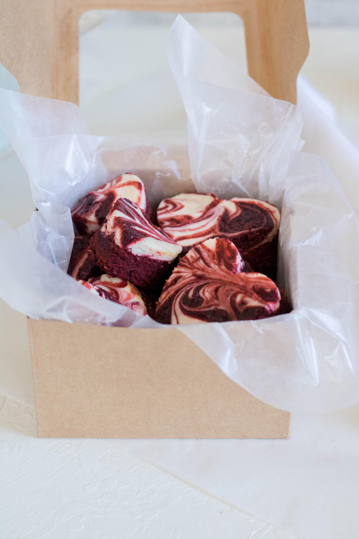 gift box of red velvet brownies