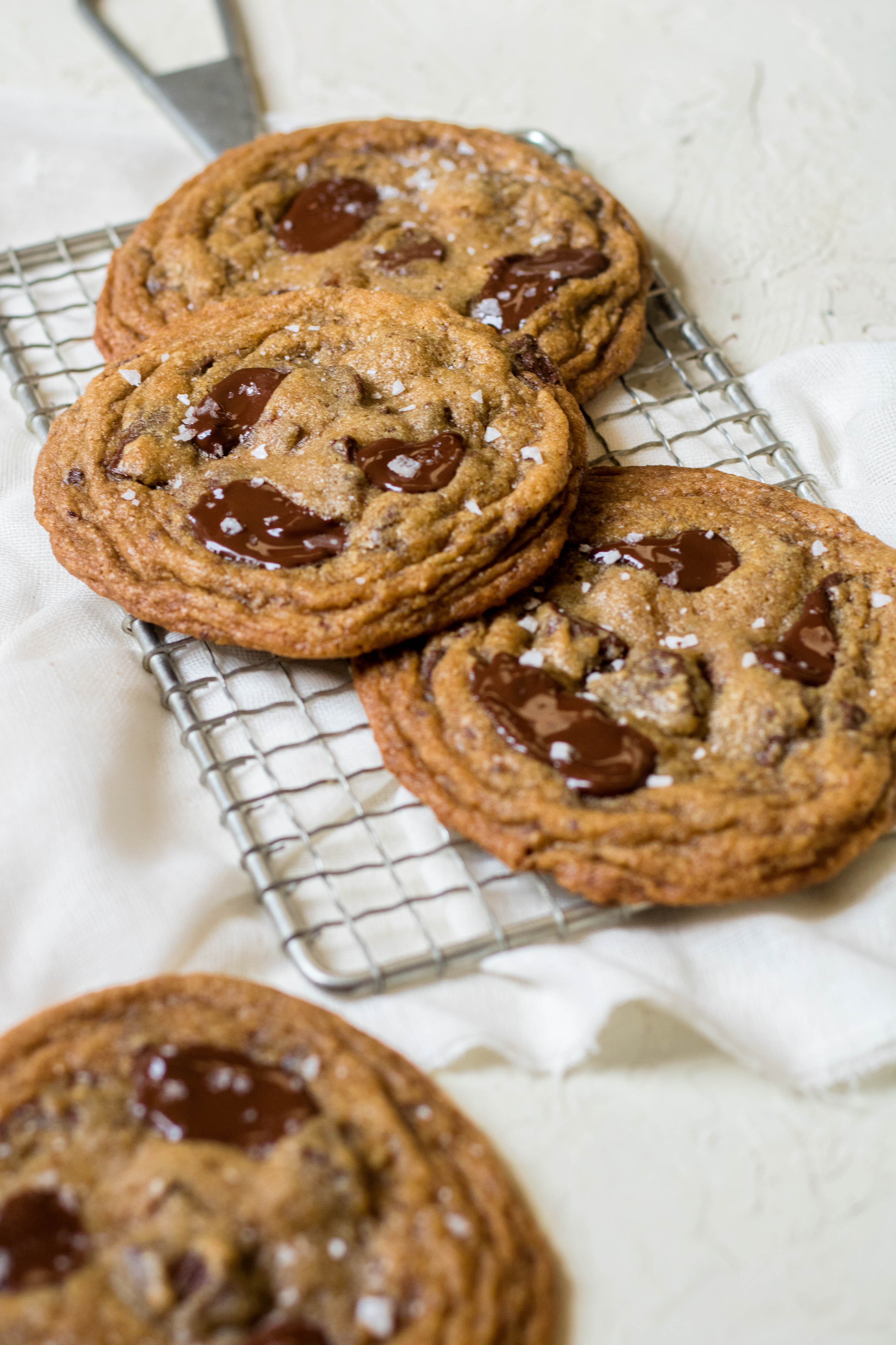 Homemade chocolate chip cookies with sea salt flakes