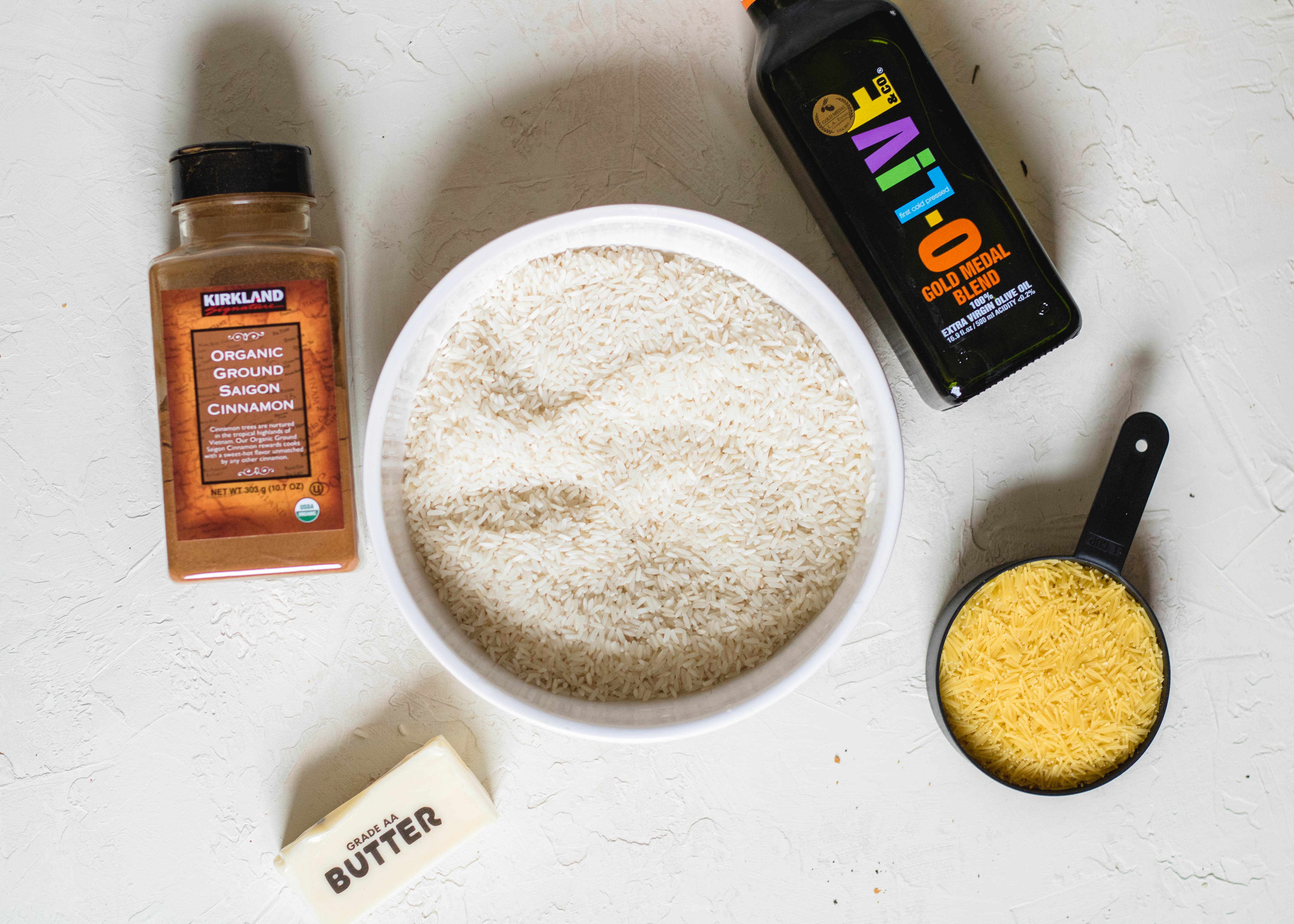 Ingredients for stove top rice pilaf