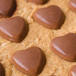 Reese's heart peanut butter blondies
