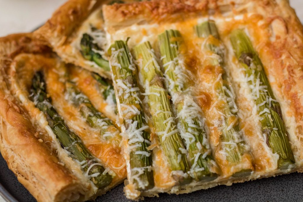 slices of the asparagus main dish