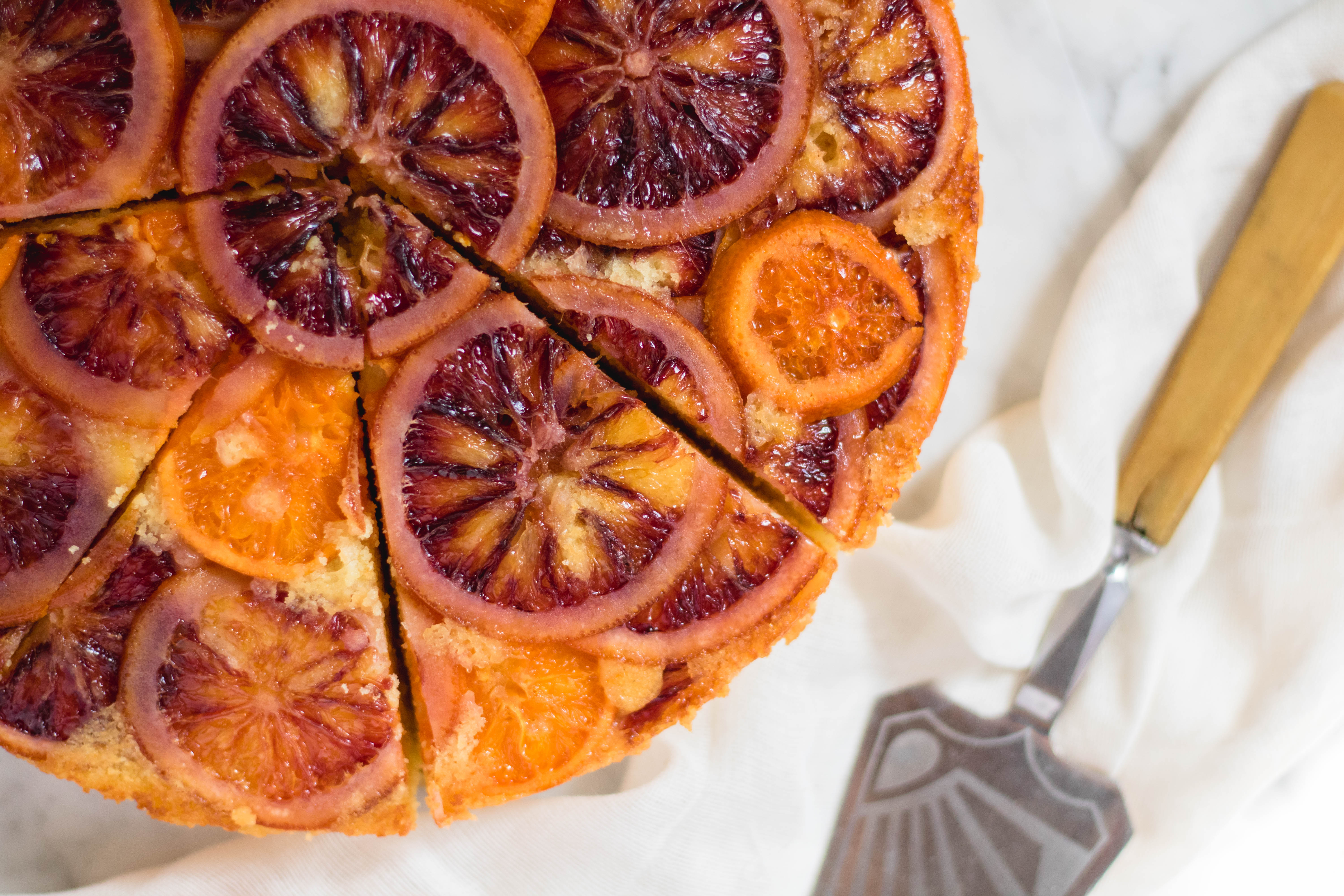 easy blood orange upside-down cake sliced