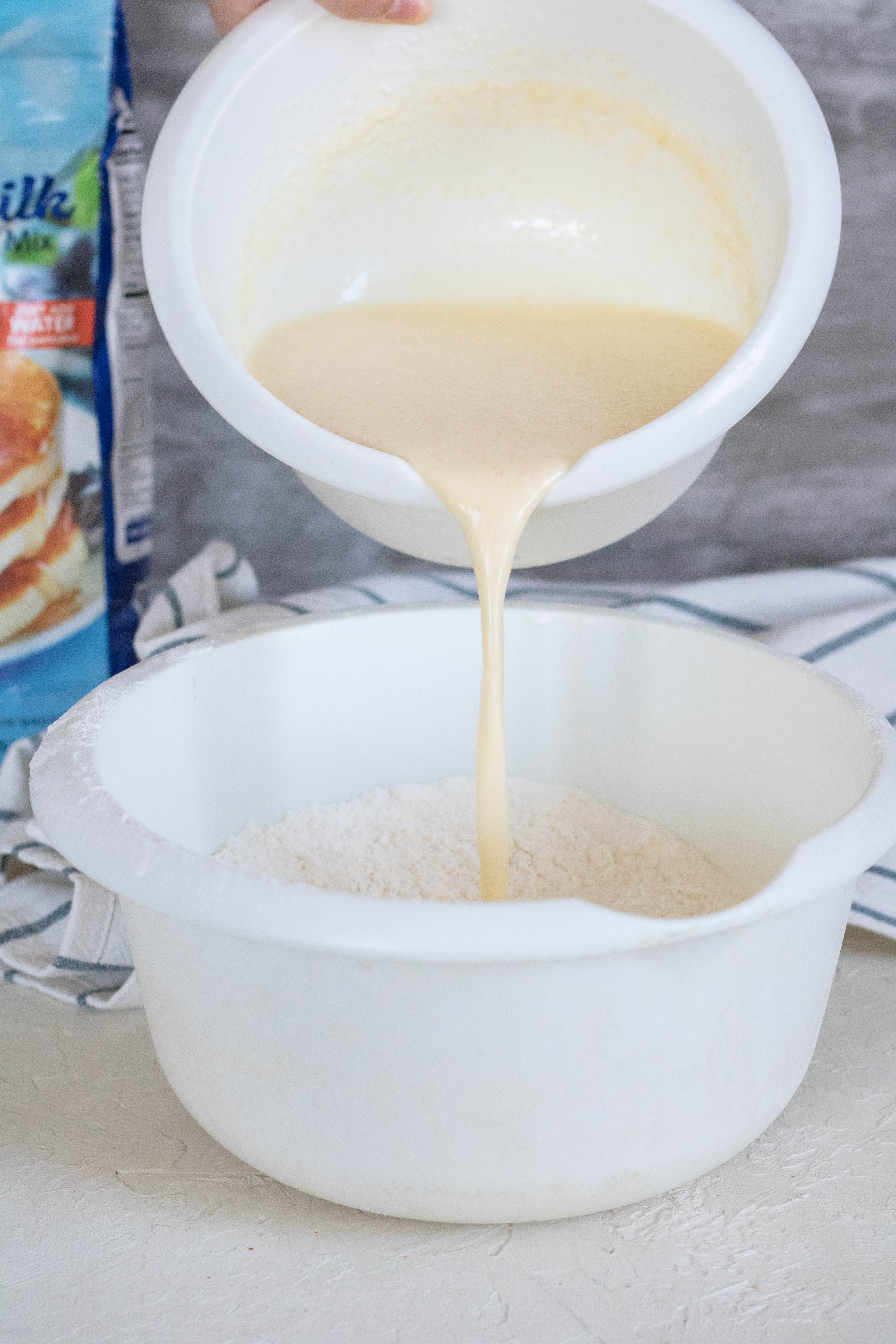 Add milk to boxed pancake mix to make them better