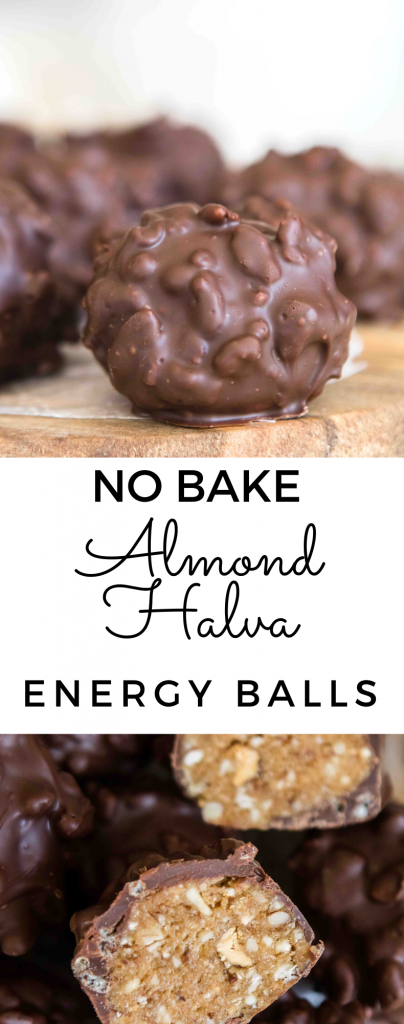 No bake halva almond balls