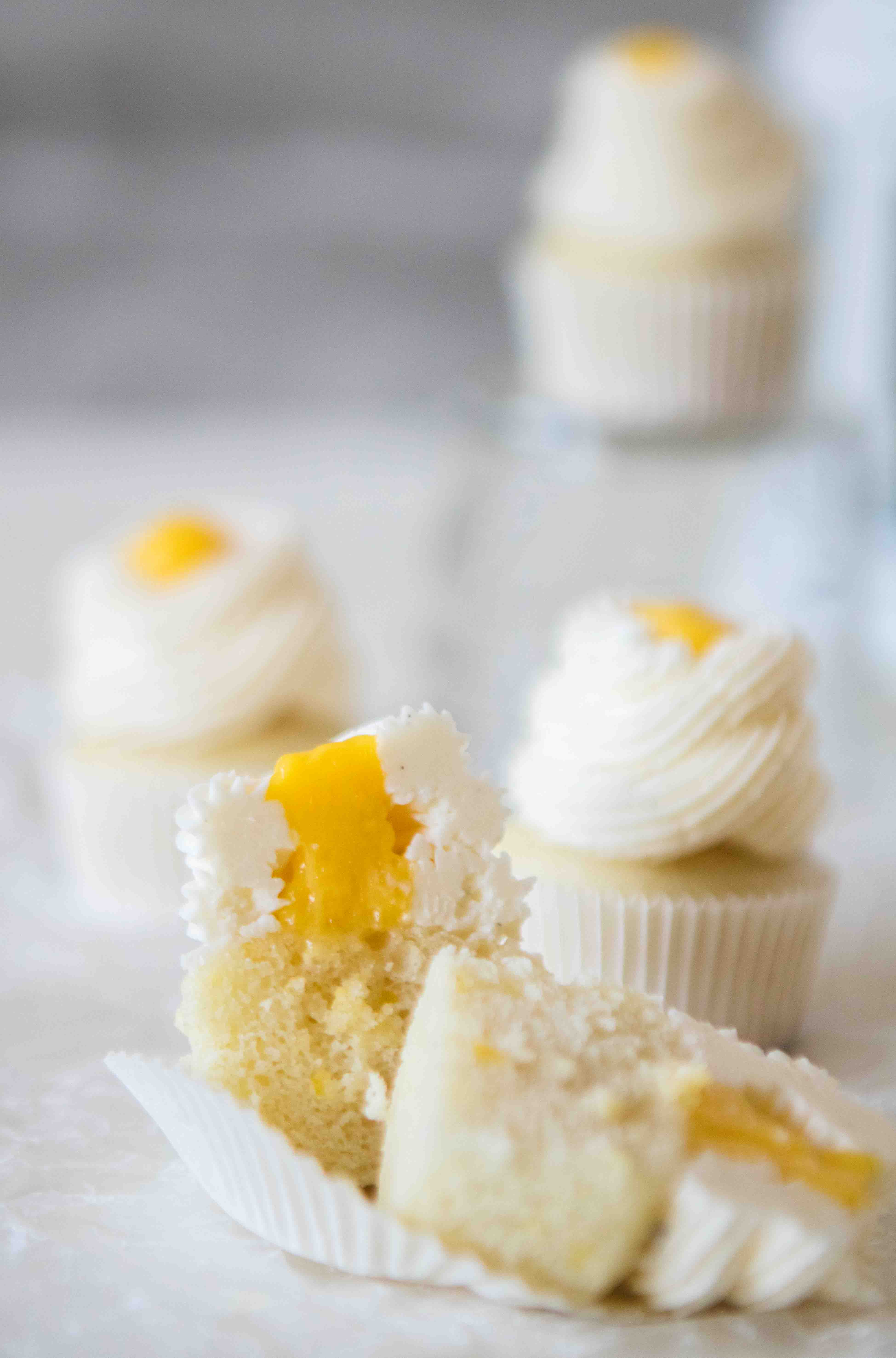 Lemon curd filled lemon cupcakes