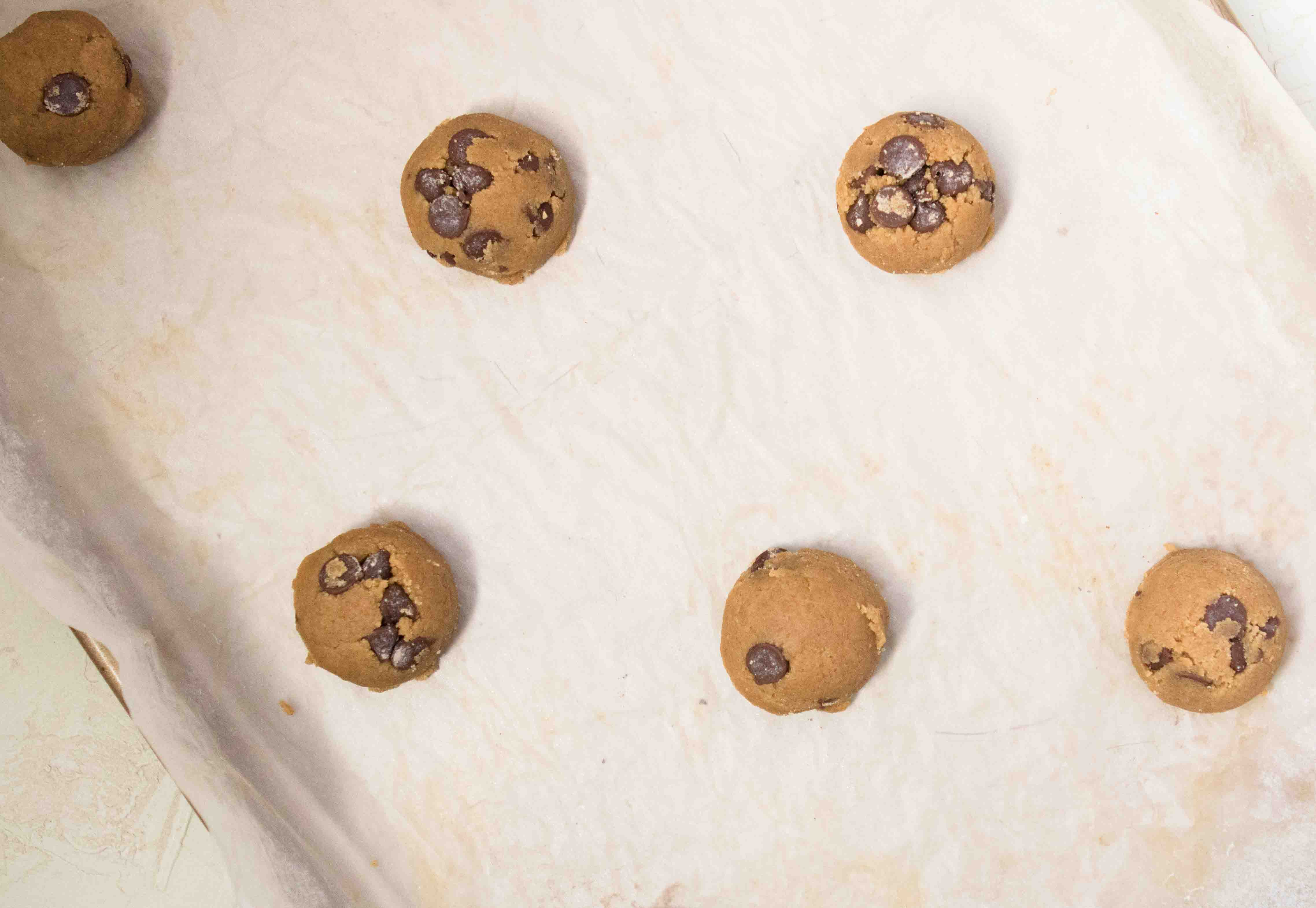Chocolate chip cookie dough before baking