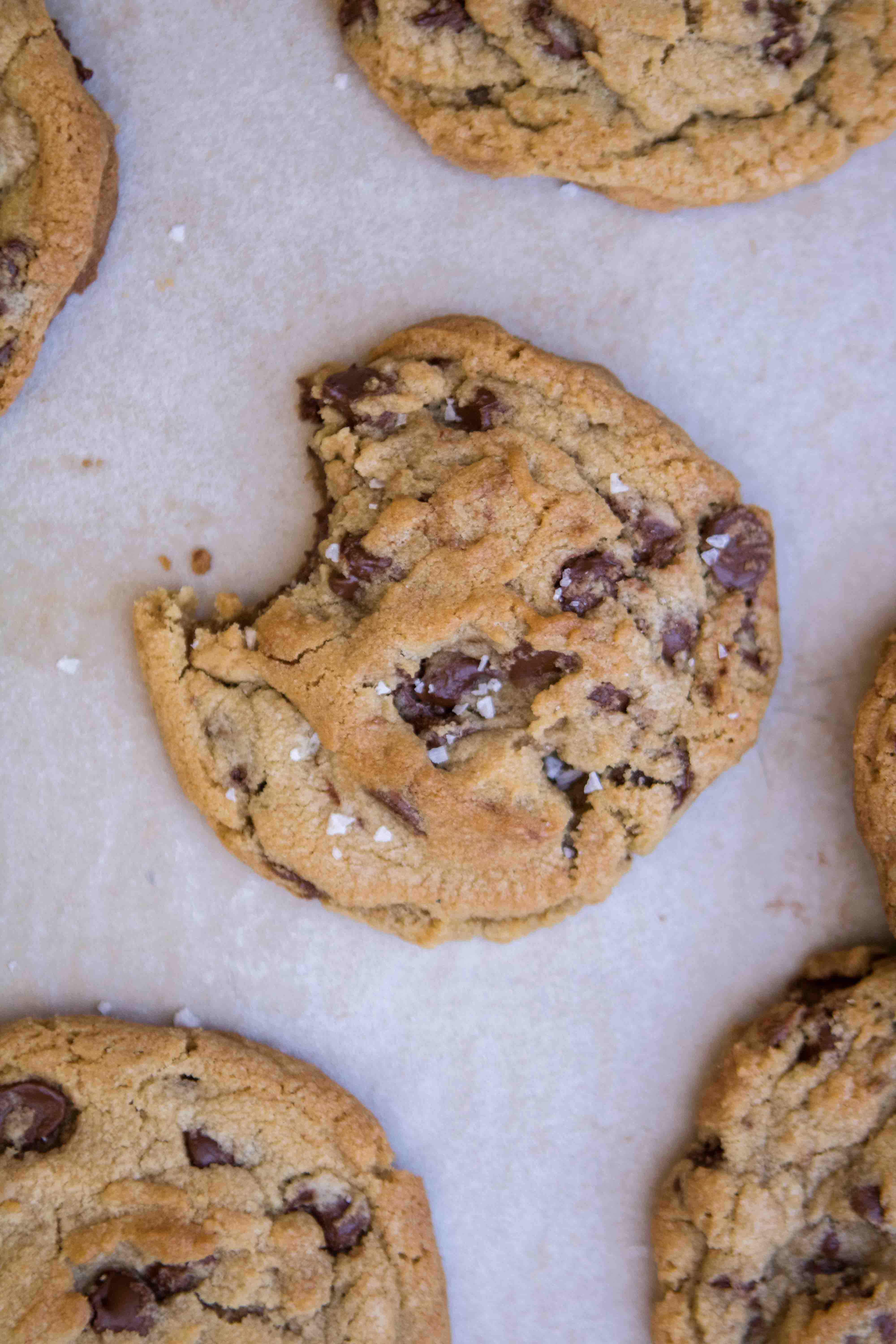 Chocolate chip cookies with brown sugar with crispy edges and gooey centers