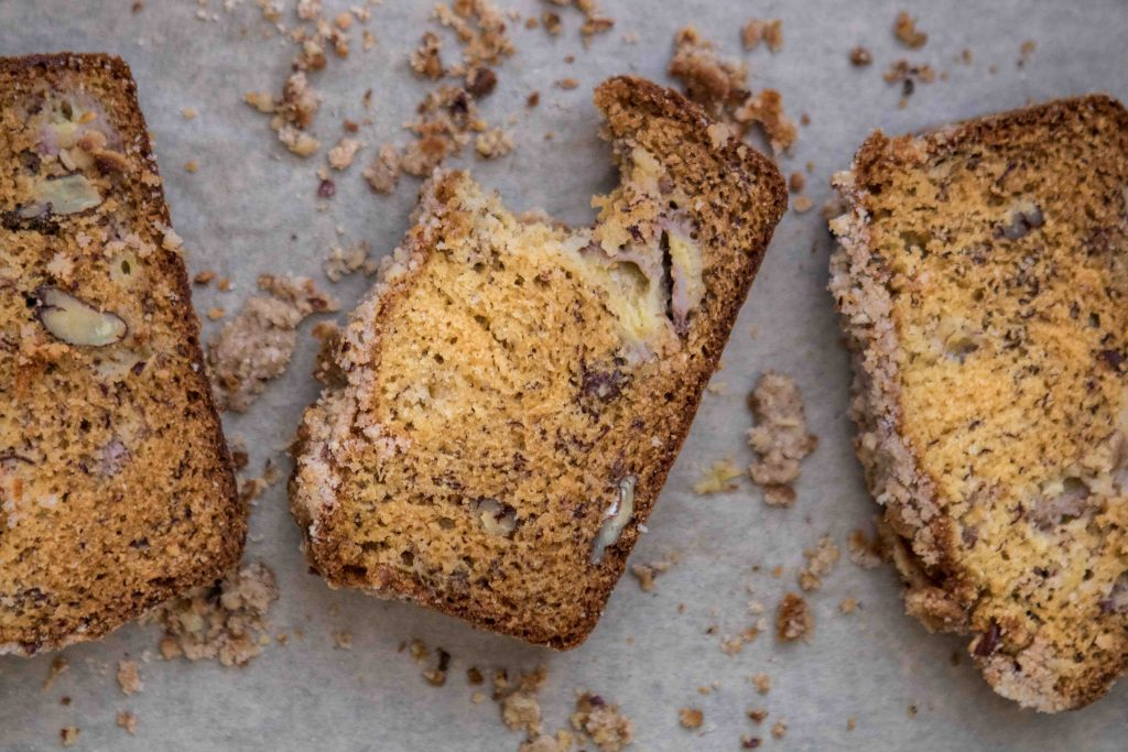 banana bread slices with pecans