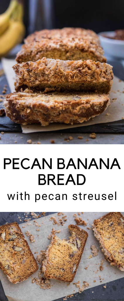 pecan banana bread with streusel