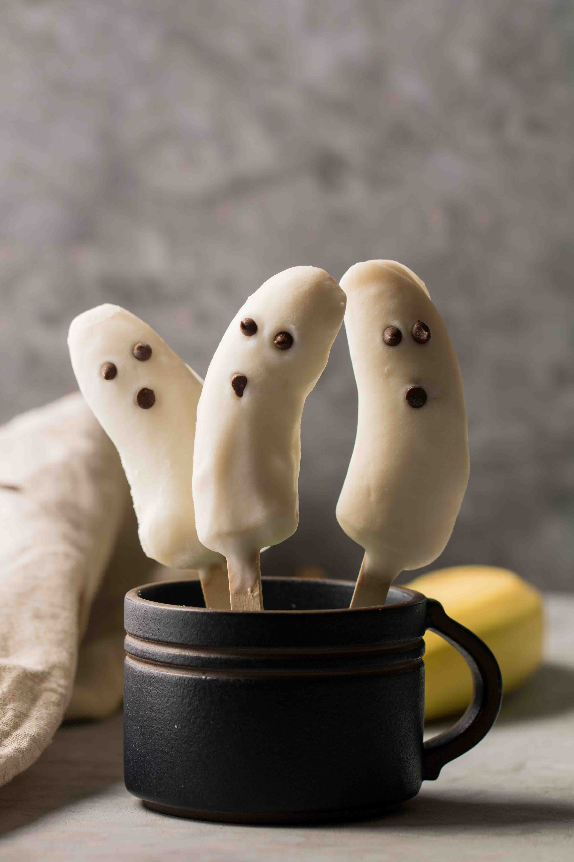 Spooky halloween banana popsicles