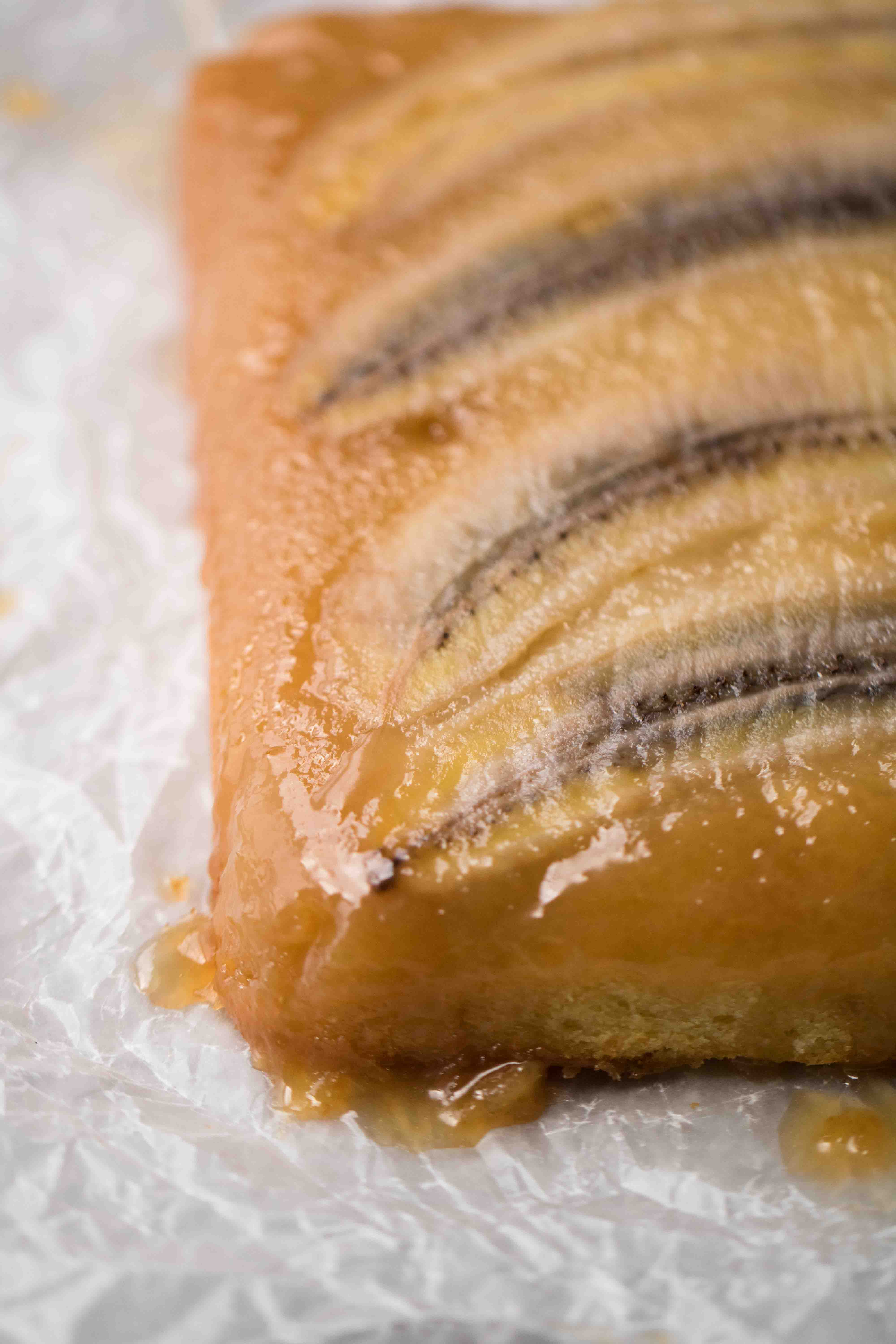 The most buttery upside down banana cake texture