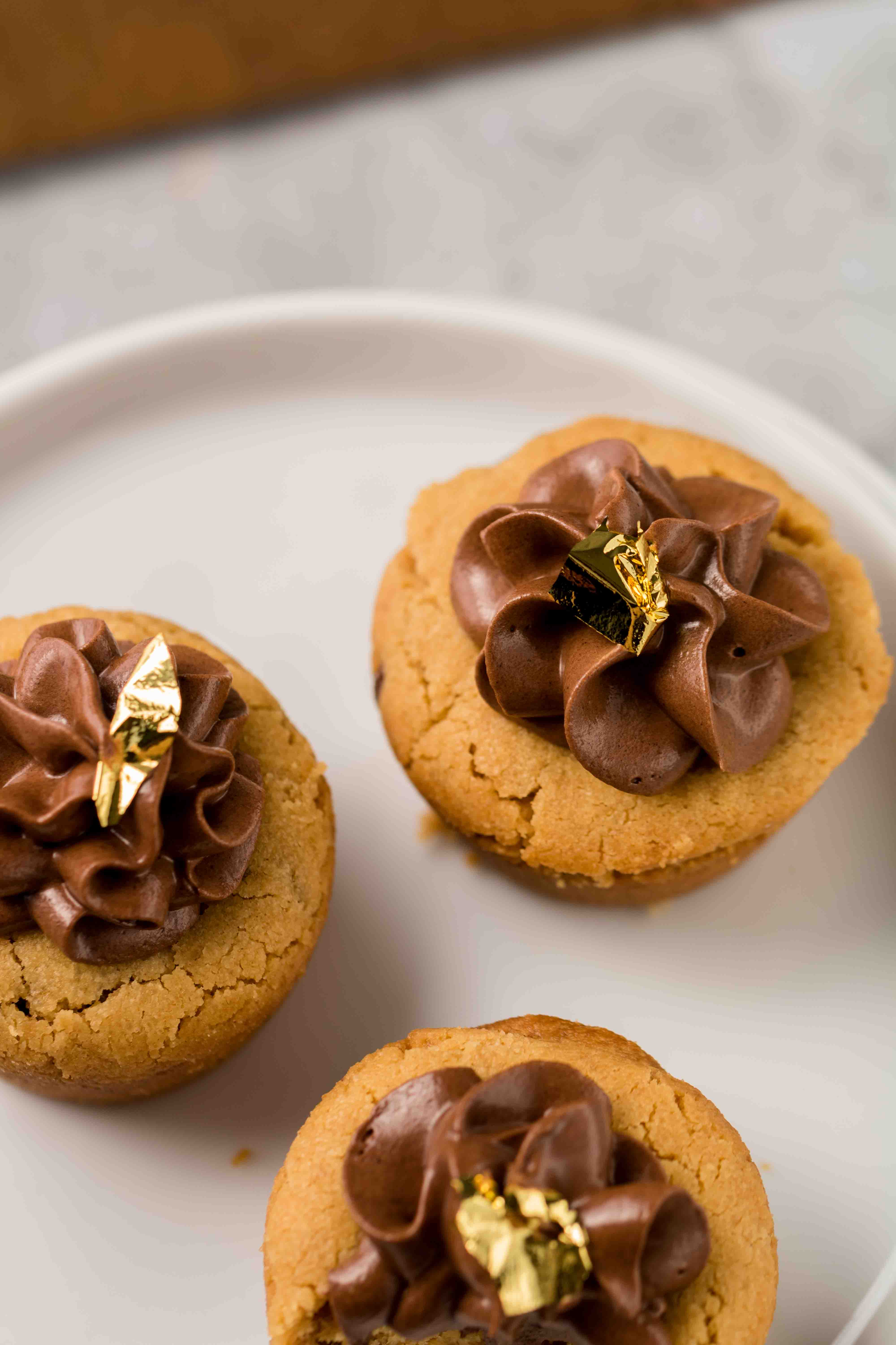 cookie cups with chocolate frosting