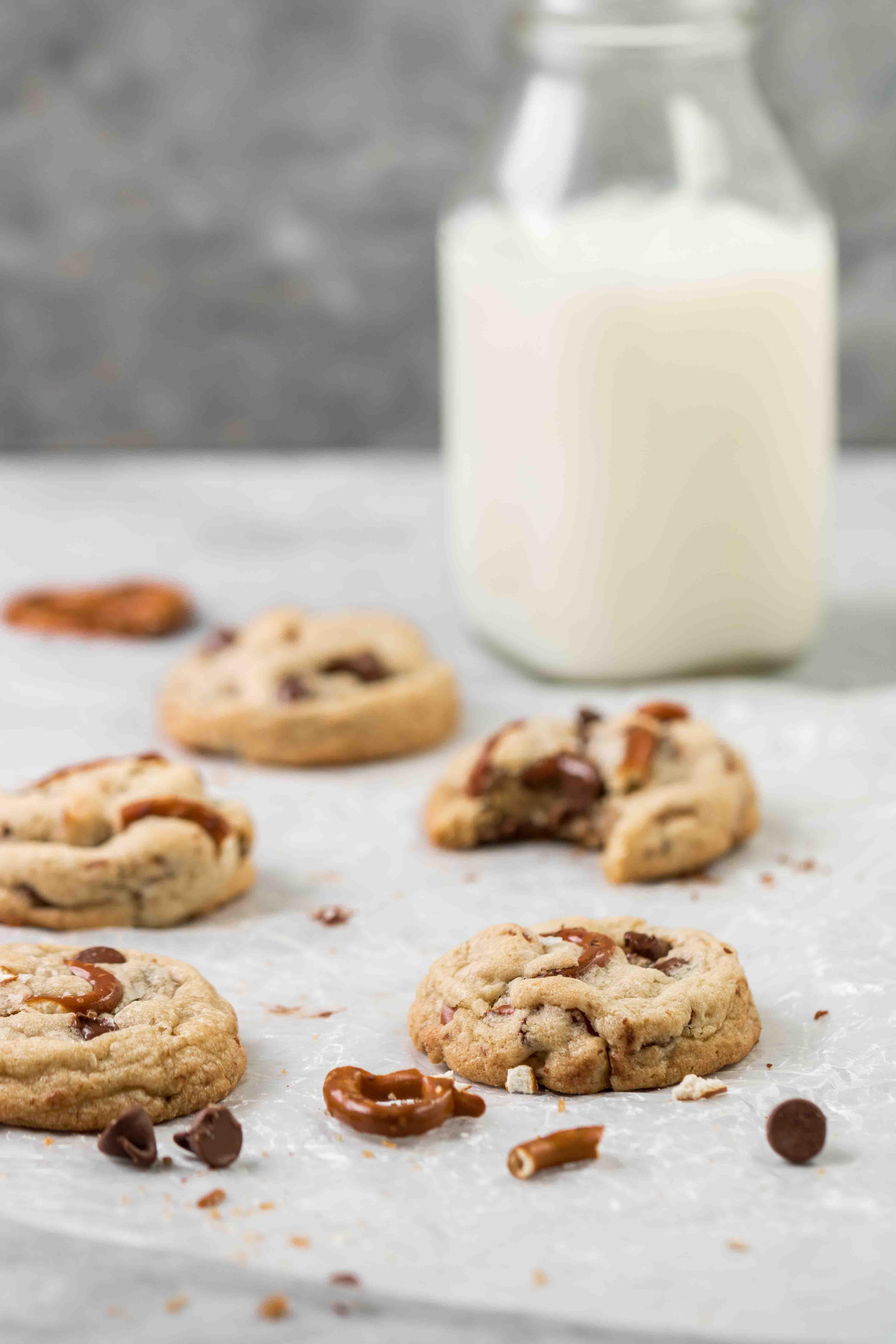 pretzel chocolate chip cookies with milk jug