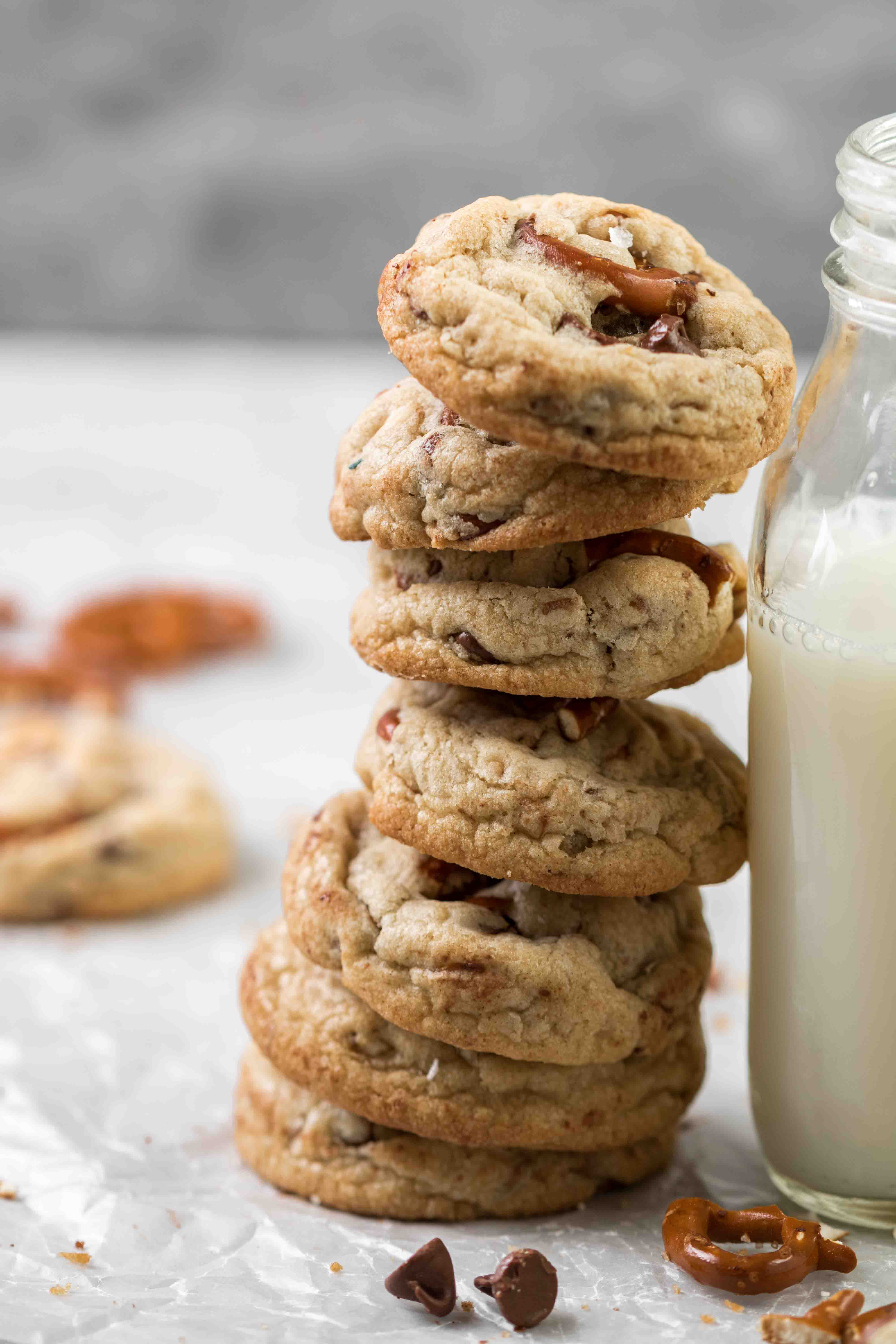 Chocolate chip cookie stack photography