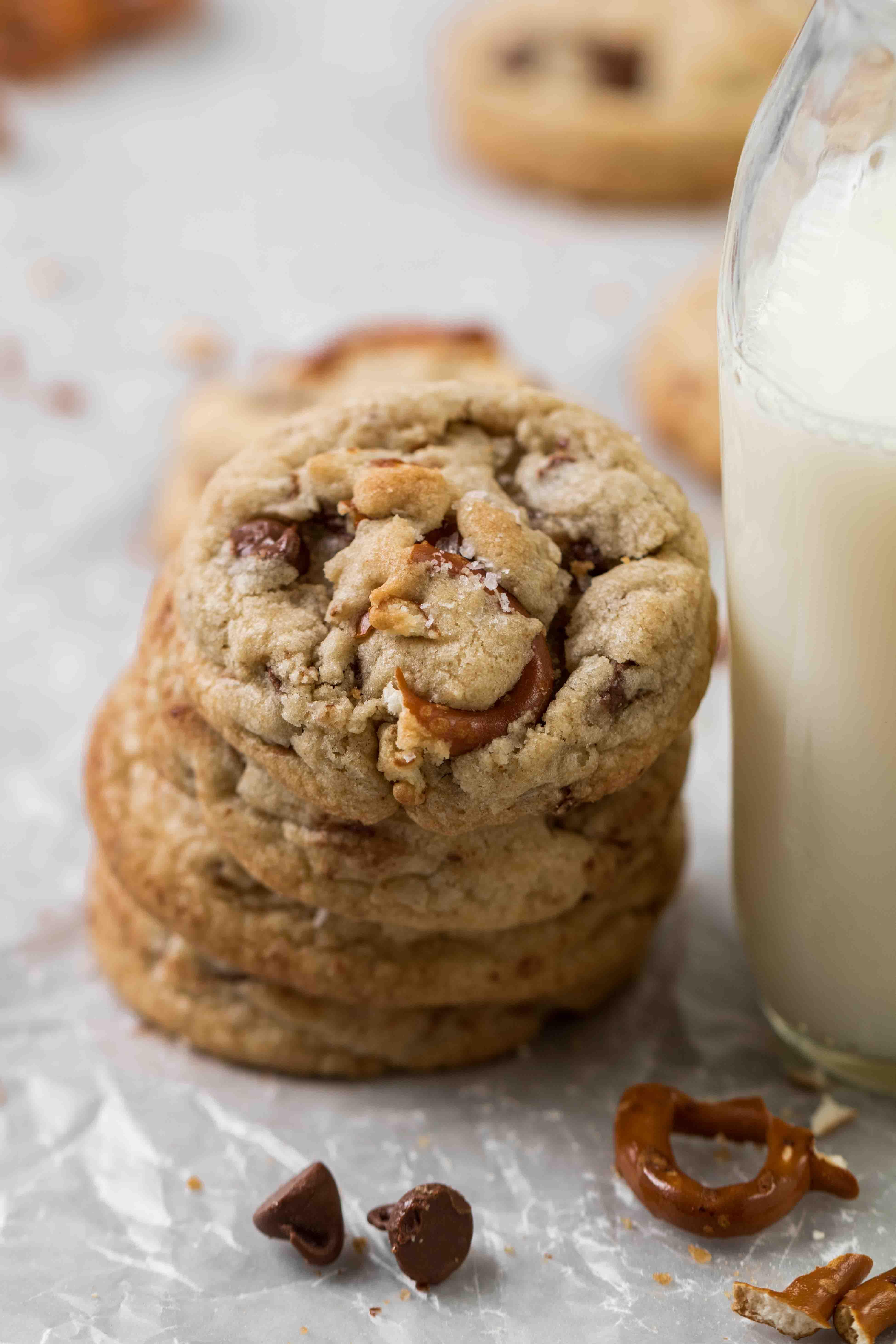 Pretzel chocolate chip cookie stack