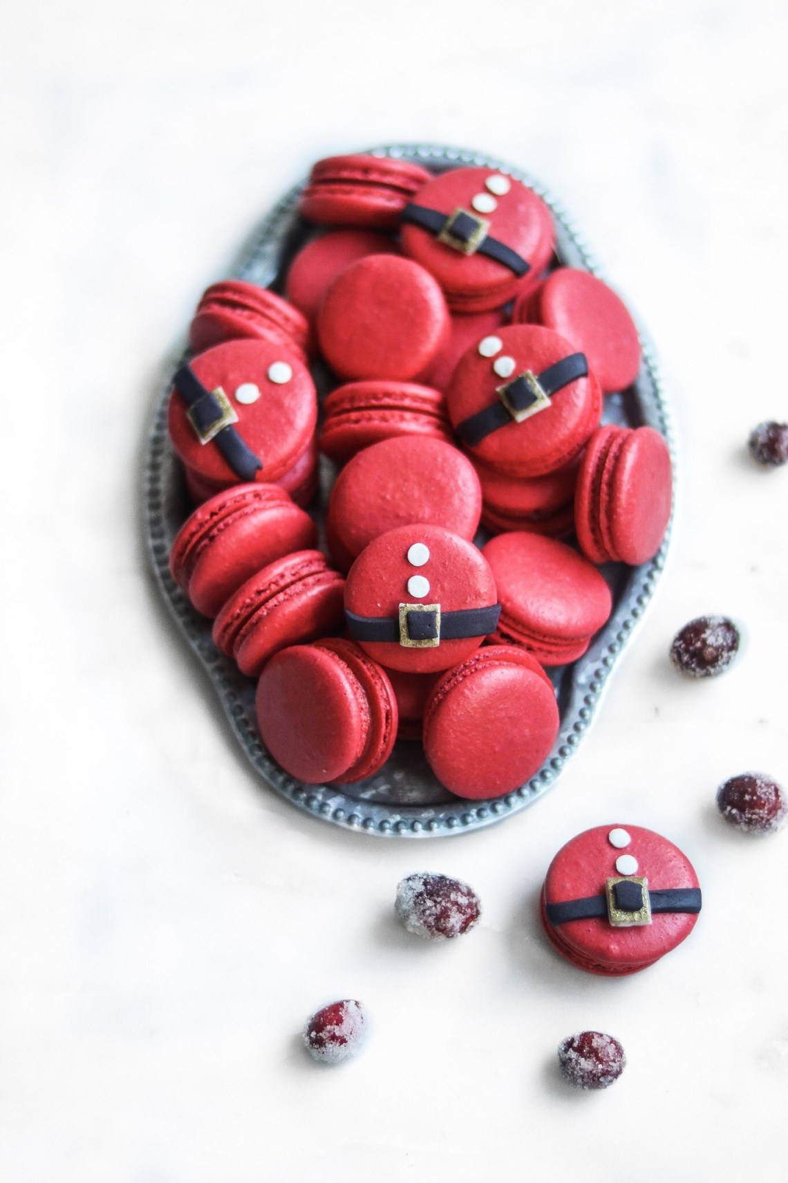 22 Days of Christmas cookies with santa macarons
