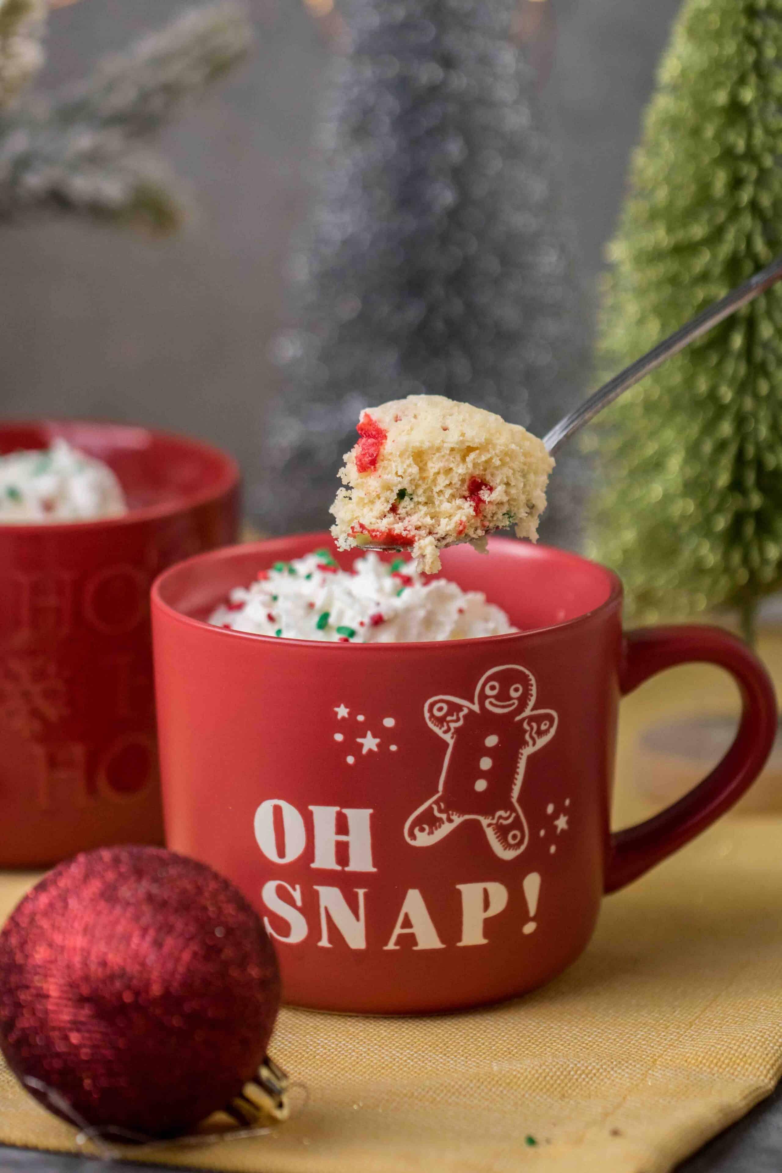 Christmas mug cake in cute Christmas mug