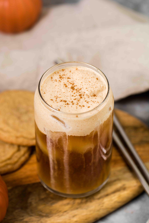 Overhead shot of pumpkin cream iced coffee