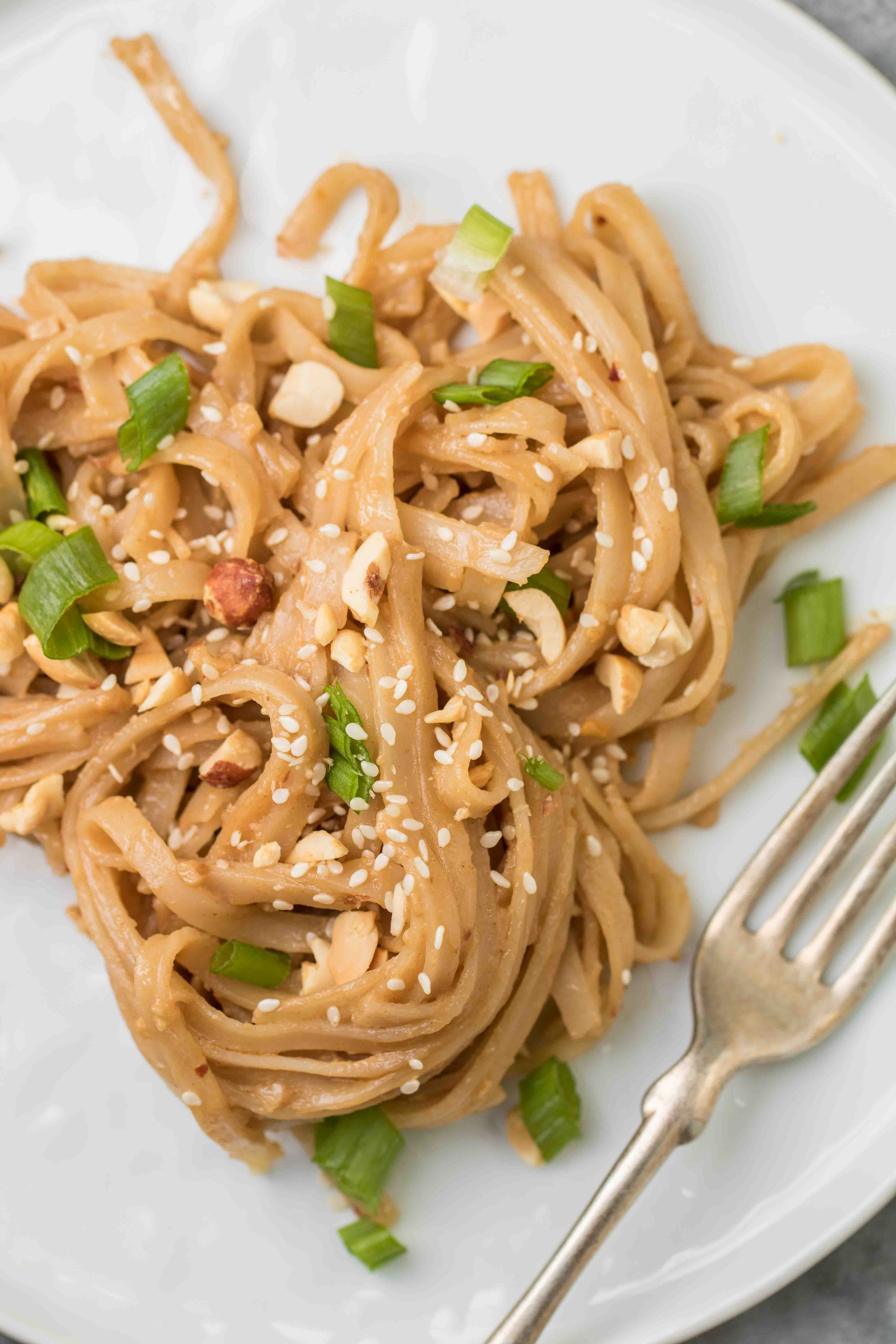 Close up of the peanut butter noodles