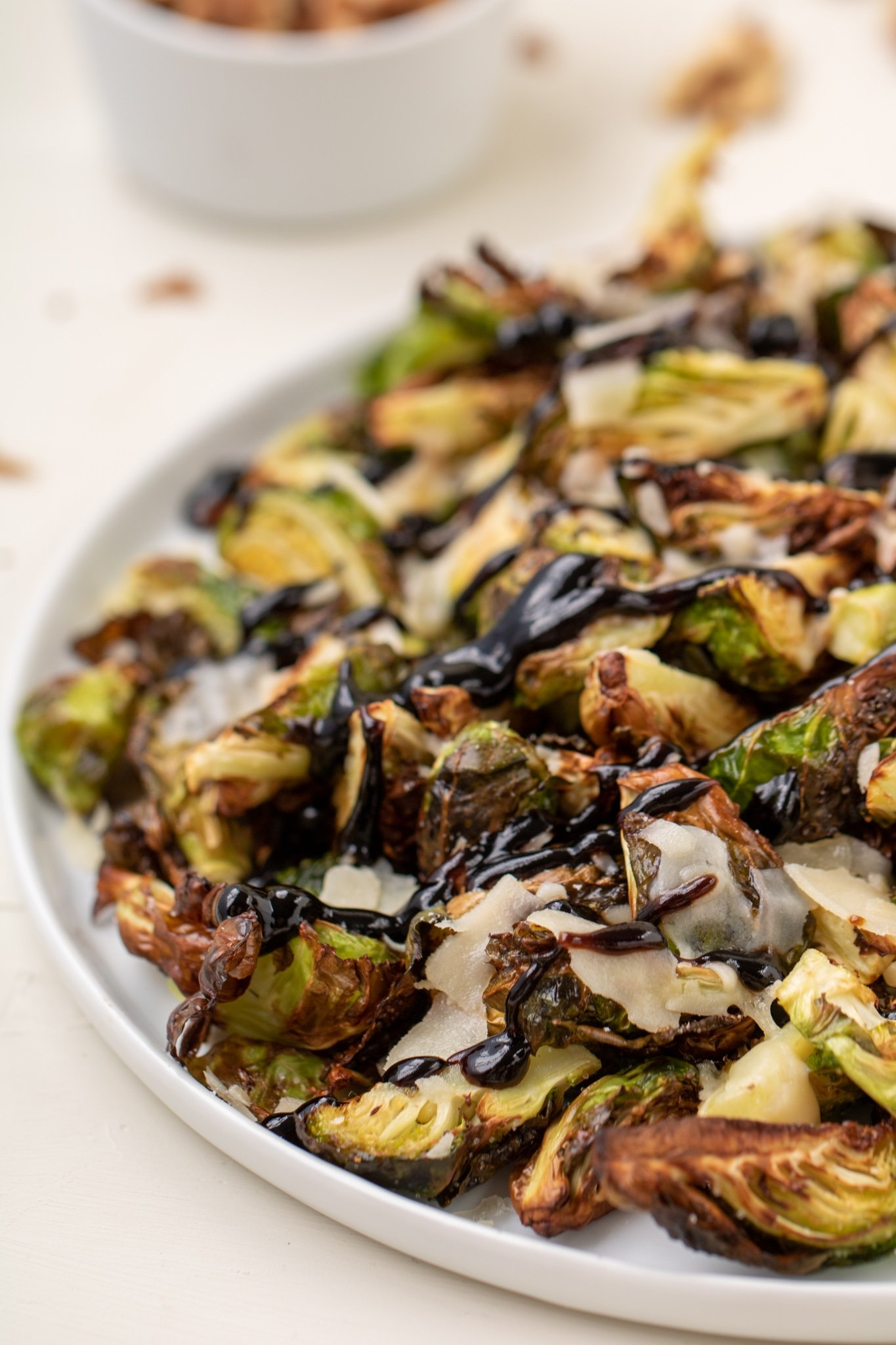 Air frier Brussel sprouts with parmesan and balsamic glaze
